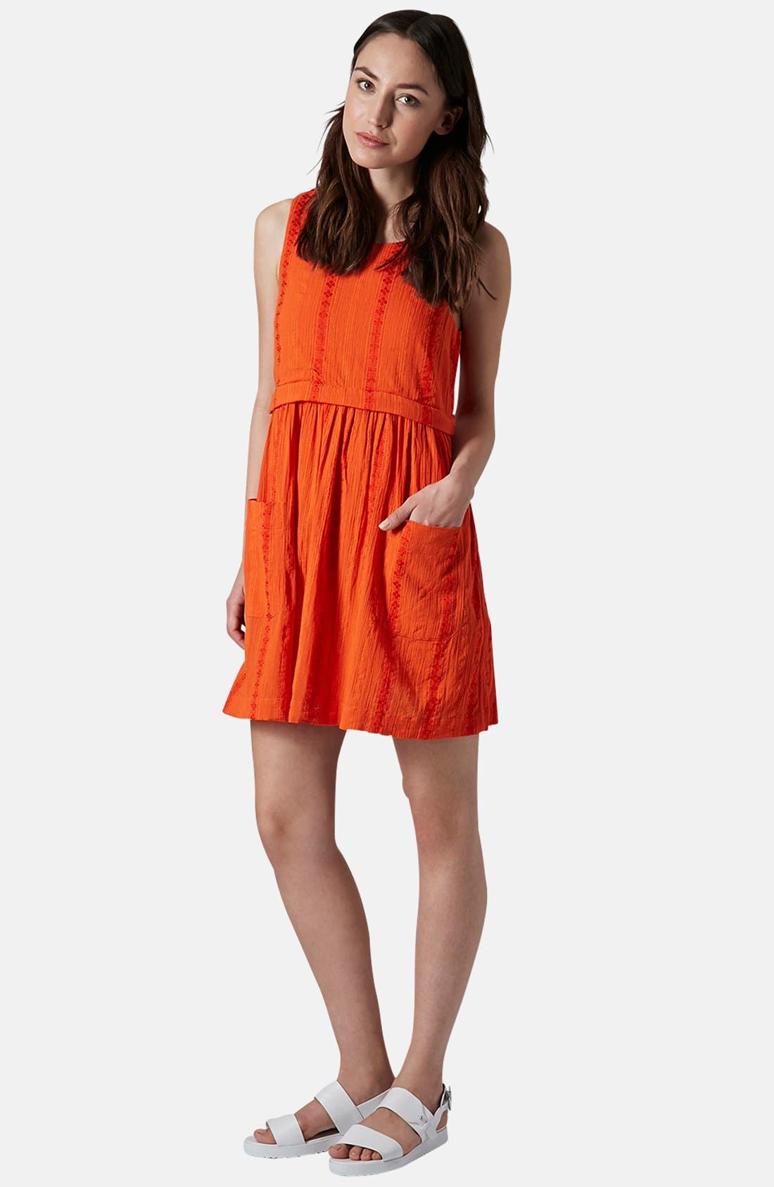 Overlay Tunic Dress,                             Alternate thumbnail 2, color,                             Red