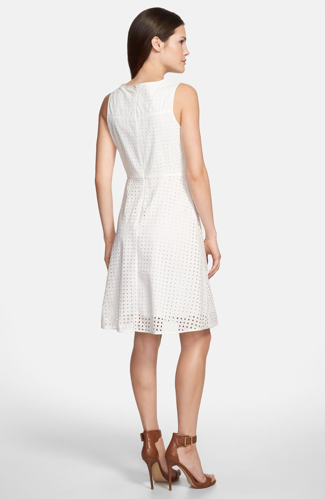Alternate Image 2  - Vince Camuto Square Eyelet Cotton Fit & Flare Dress