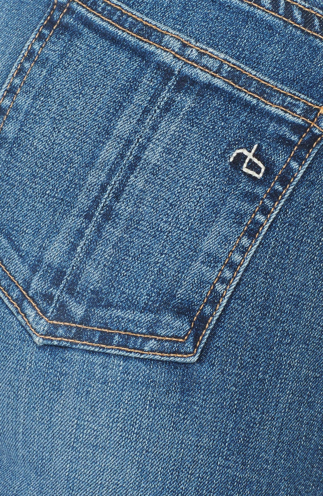Skinny Stretch Jeans,                             Alternate thumbnail 3, color,                             Sloan Plaid Repair