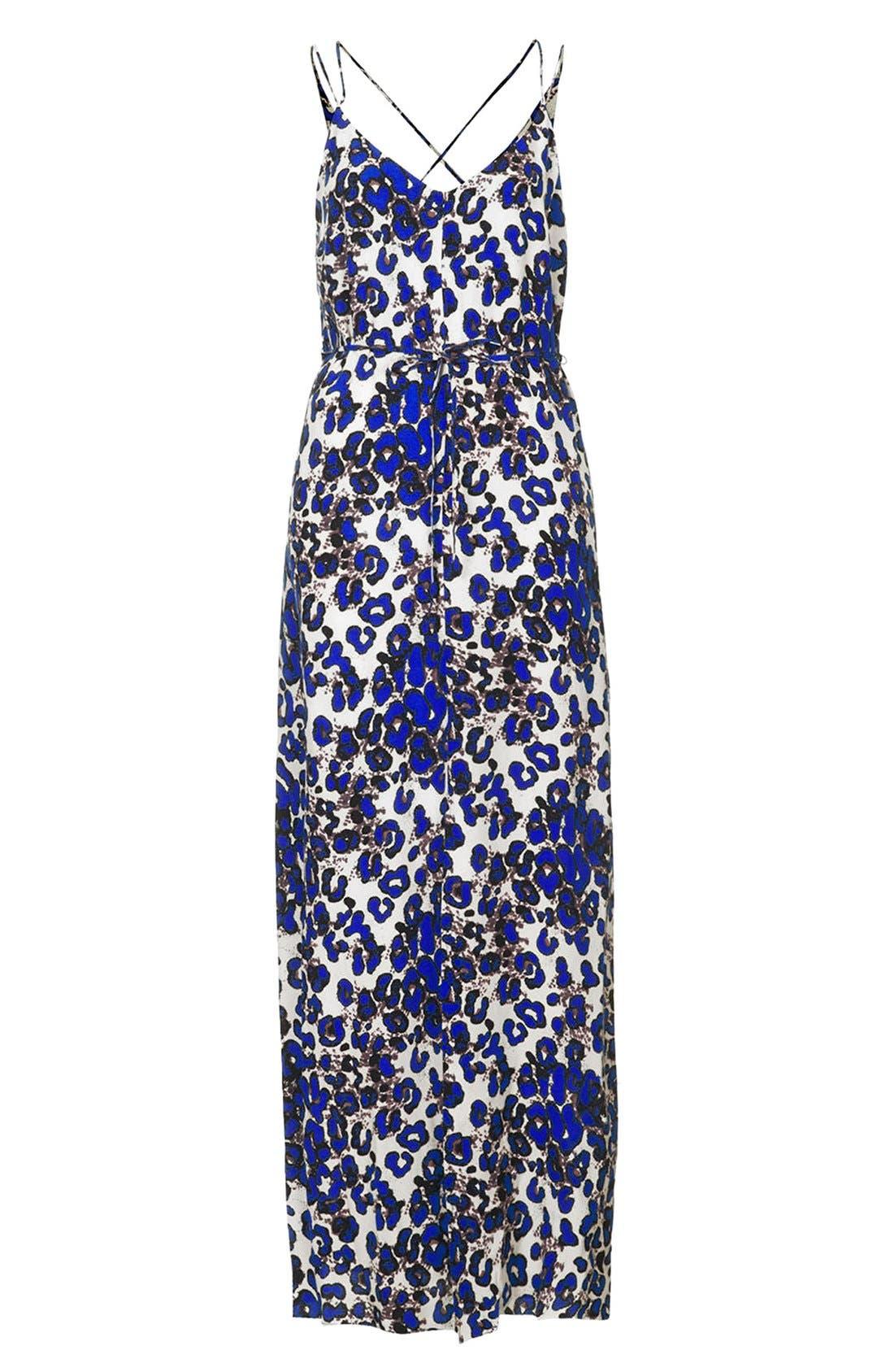Print Cross Back Maxi Dress,                             Alternate thumbnail 3, color,                             Blue