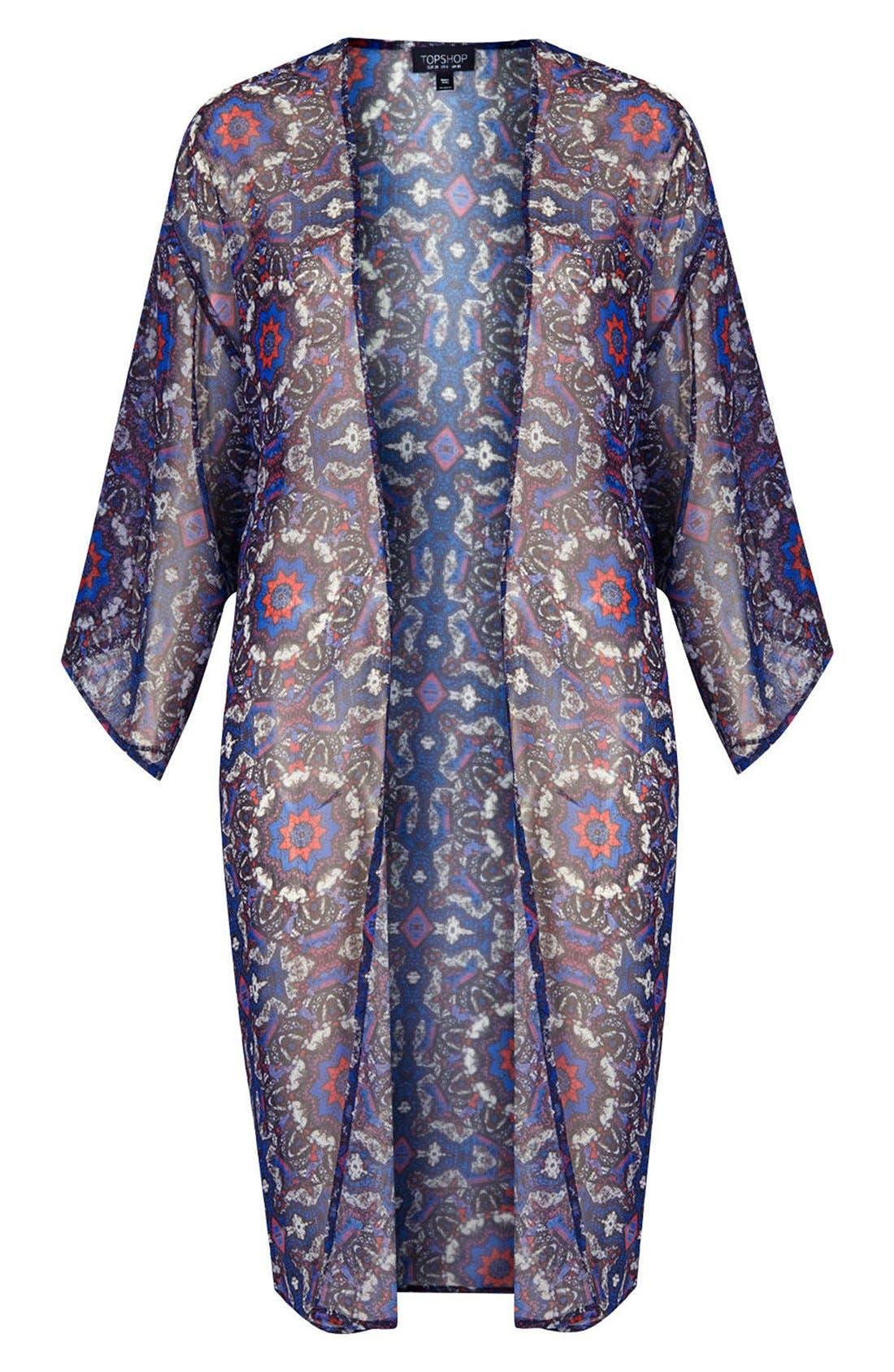 Kaleidoscope Print Kimono,                             Alternate thumbnail 3, color,                             Blue Multi