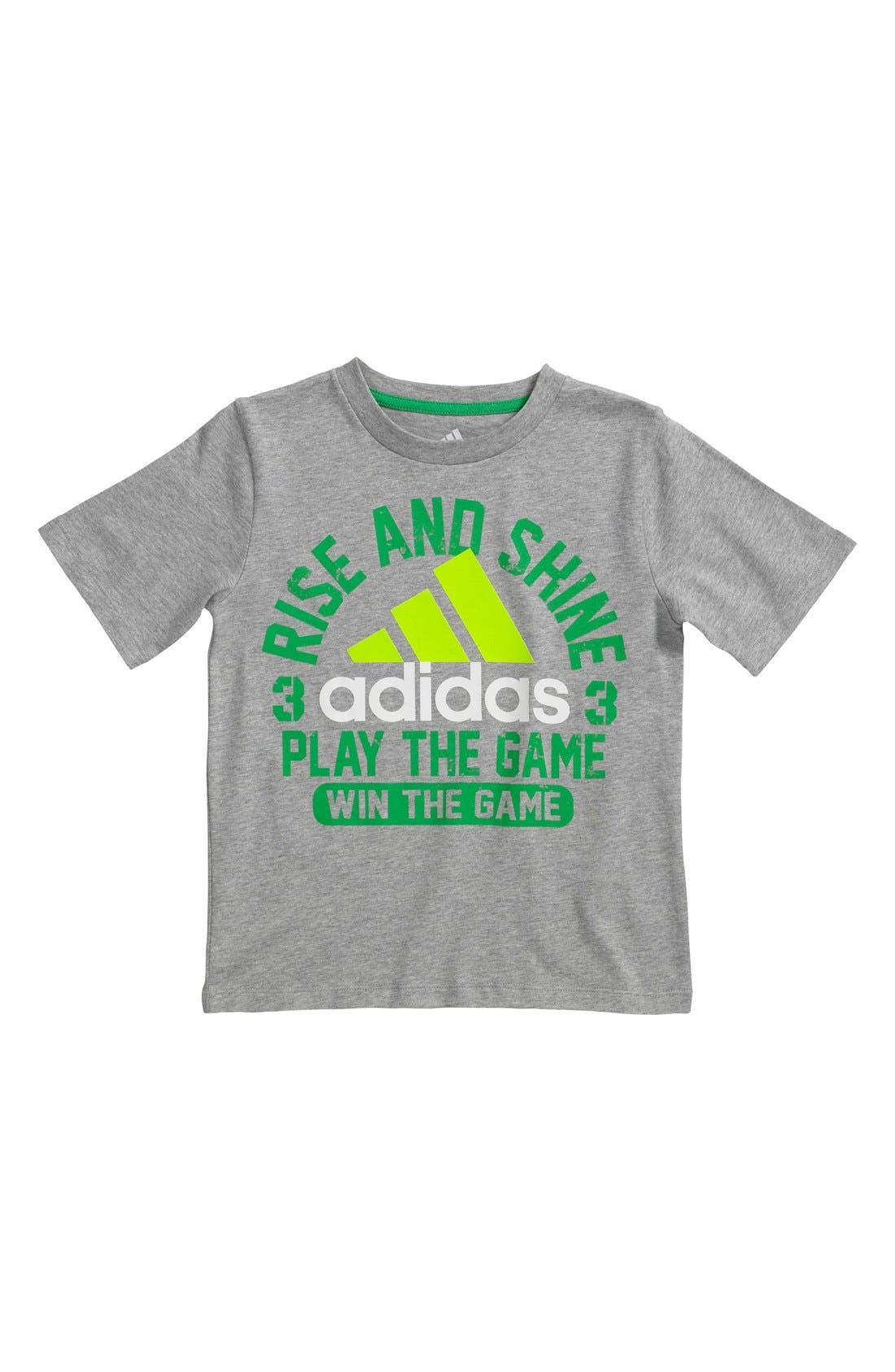Main Image - adidas 'Rise & Shine' Screenprint Cotton Jersey T-Shirt (Toddler Boys)