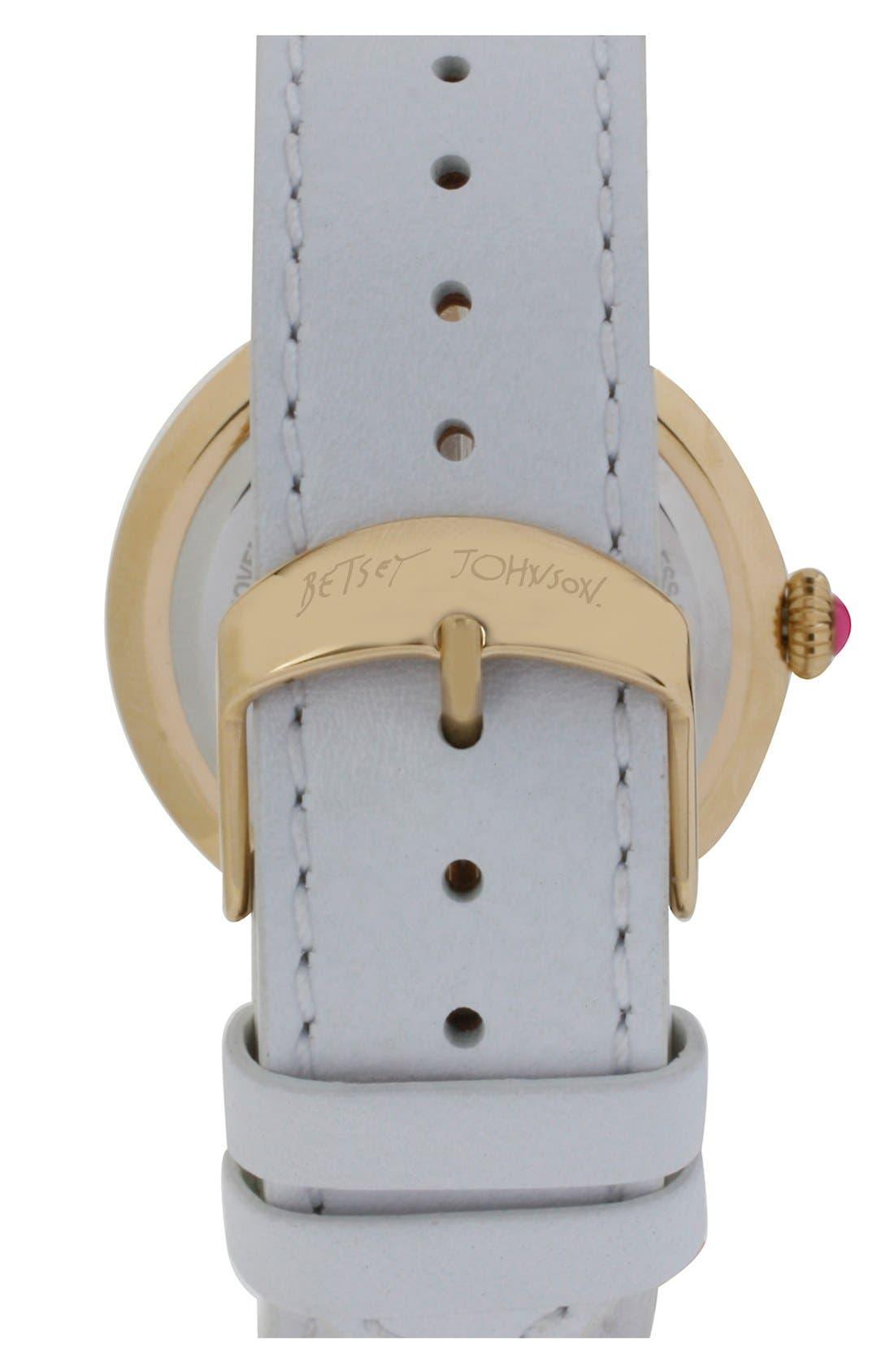 Alternate Image 2  - Betsey Johnson Link & Leather Strap Watch, 38mm