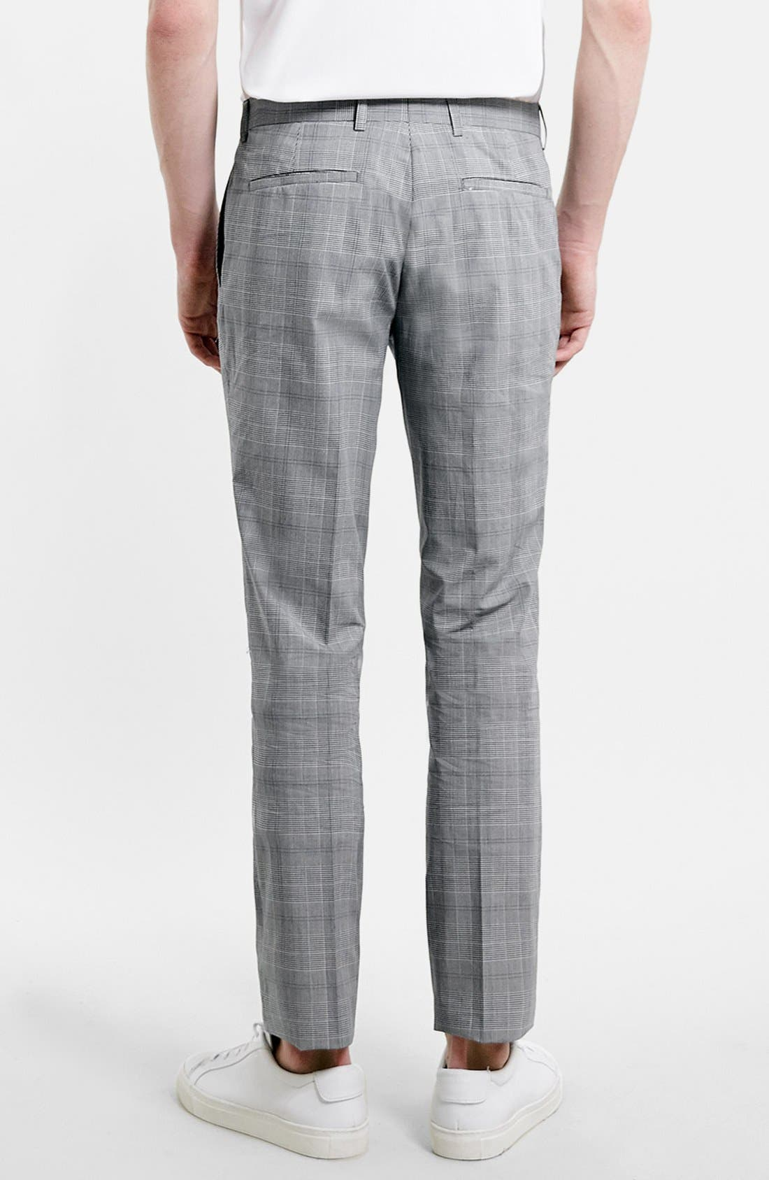 Alternate Image 2  - Topman Skinny Fit Plaid Suit Trousers