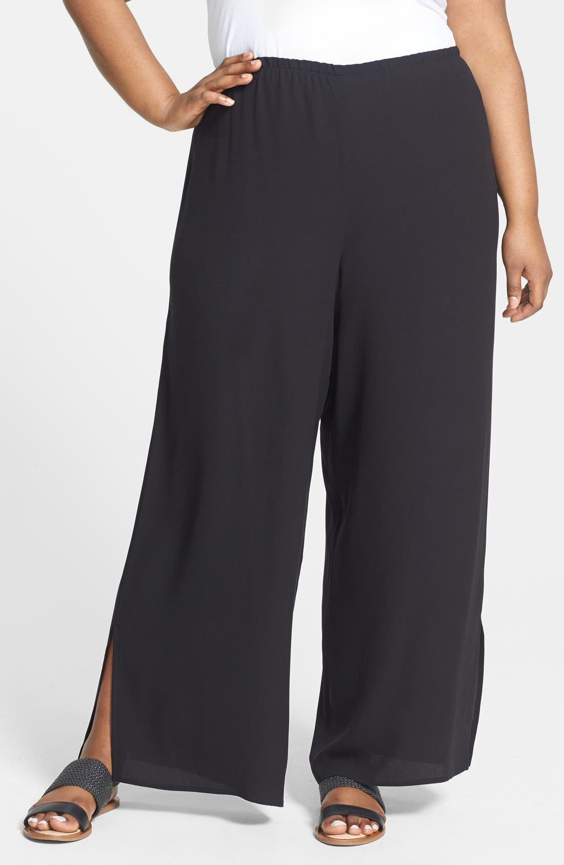 Alternate Image 1 Selected - Eileen Fisher Slit Hem Silk Georgette Crepe Wide Leg Pants (Plus Size)