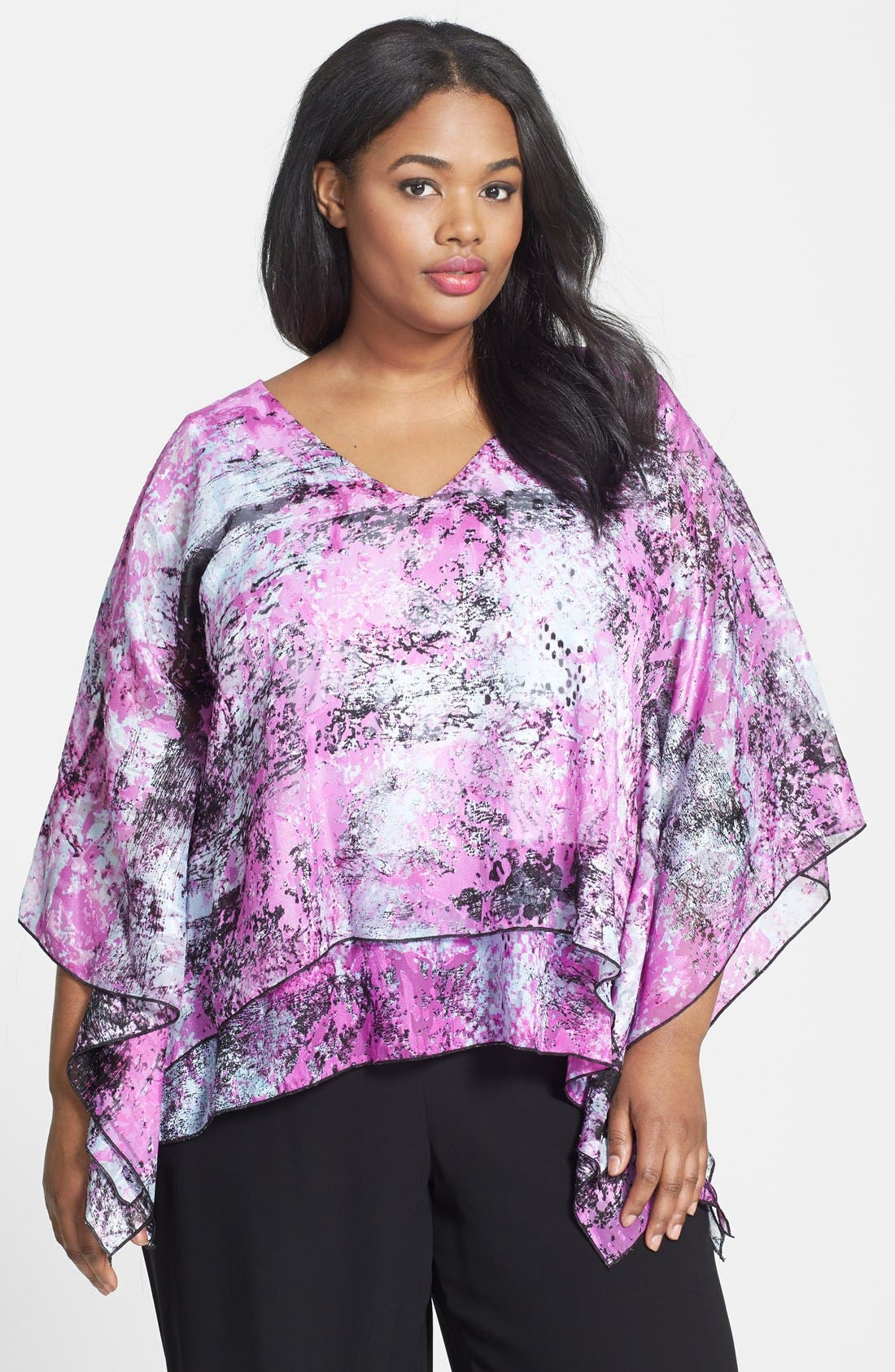Alternate Image 1 Selected - Alex Evenings Print Tiered V-Neck Blouse (Plus Size)
