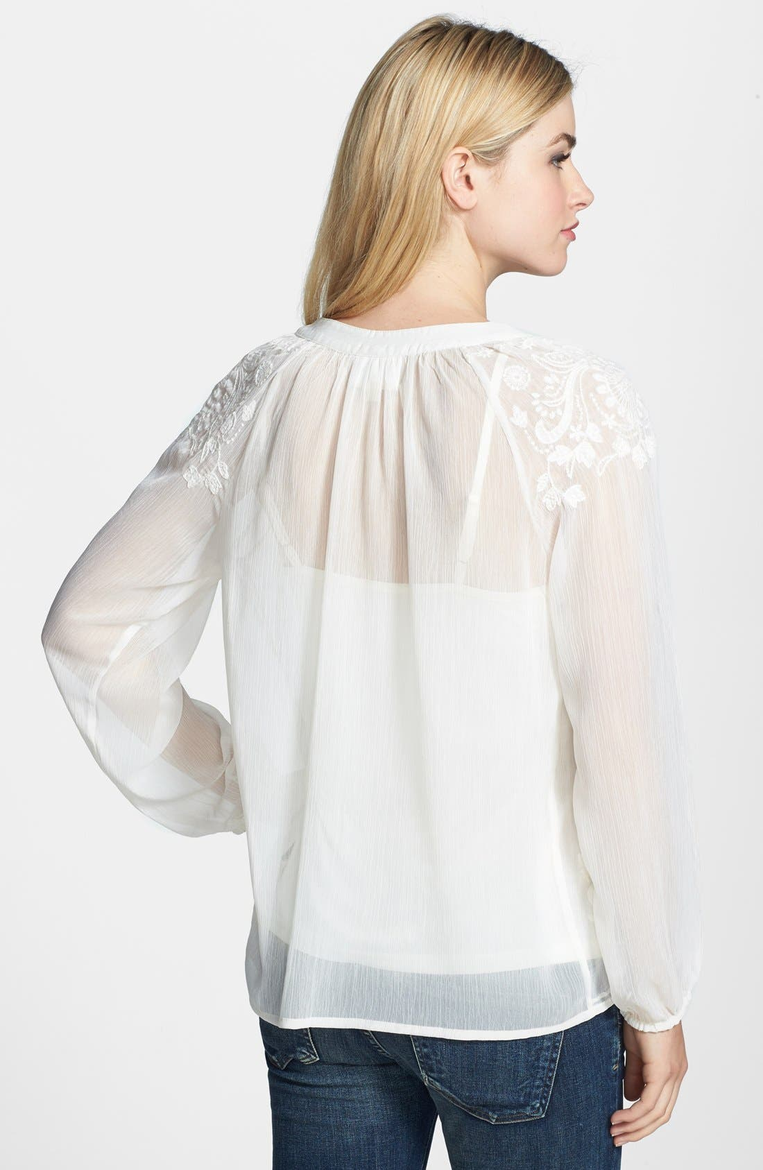 Alternate Image 2  - ECI Embroidered Crinkled Chiffon Blouse