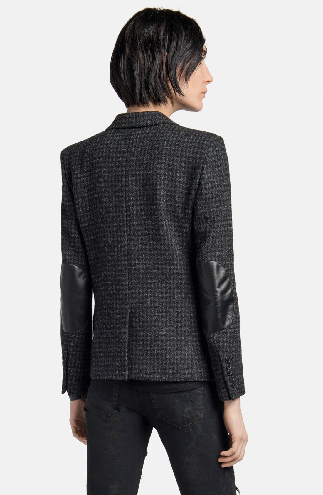 Alternate Image 2  - Saint Laurent Leather Elbow Patch Houndstooth Tweed Blazer