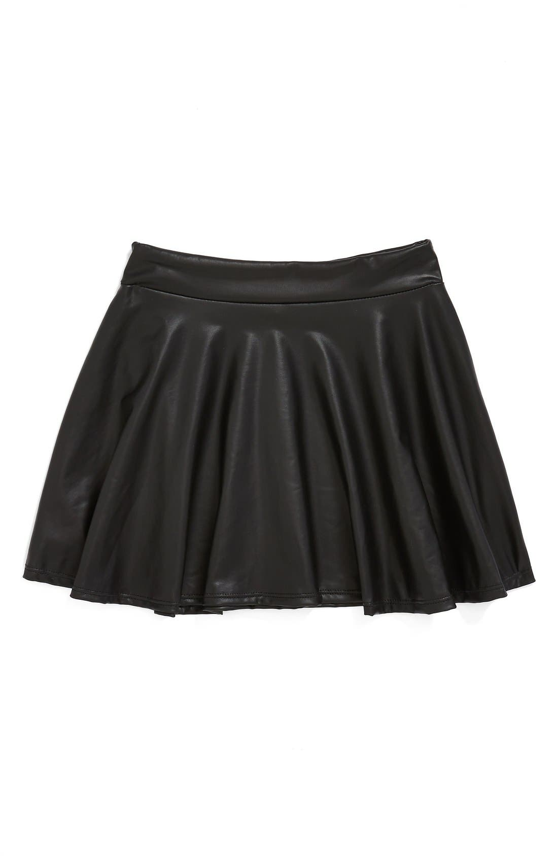 Main Image - Flowers by Zoe Faux Leather Pleated Skirt (Big Girls) (Online Only)