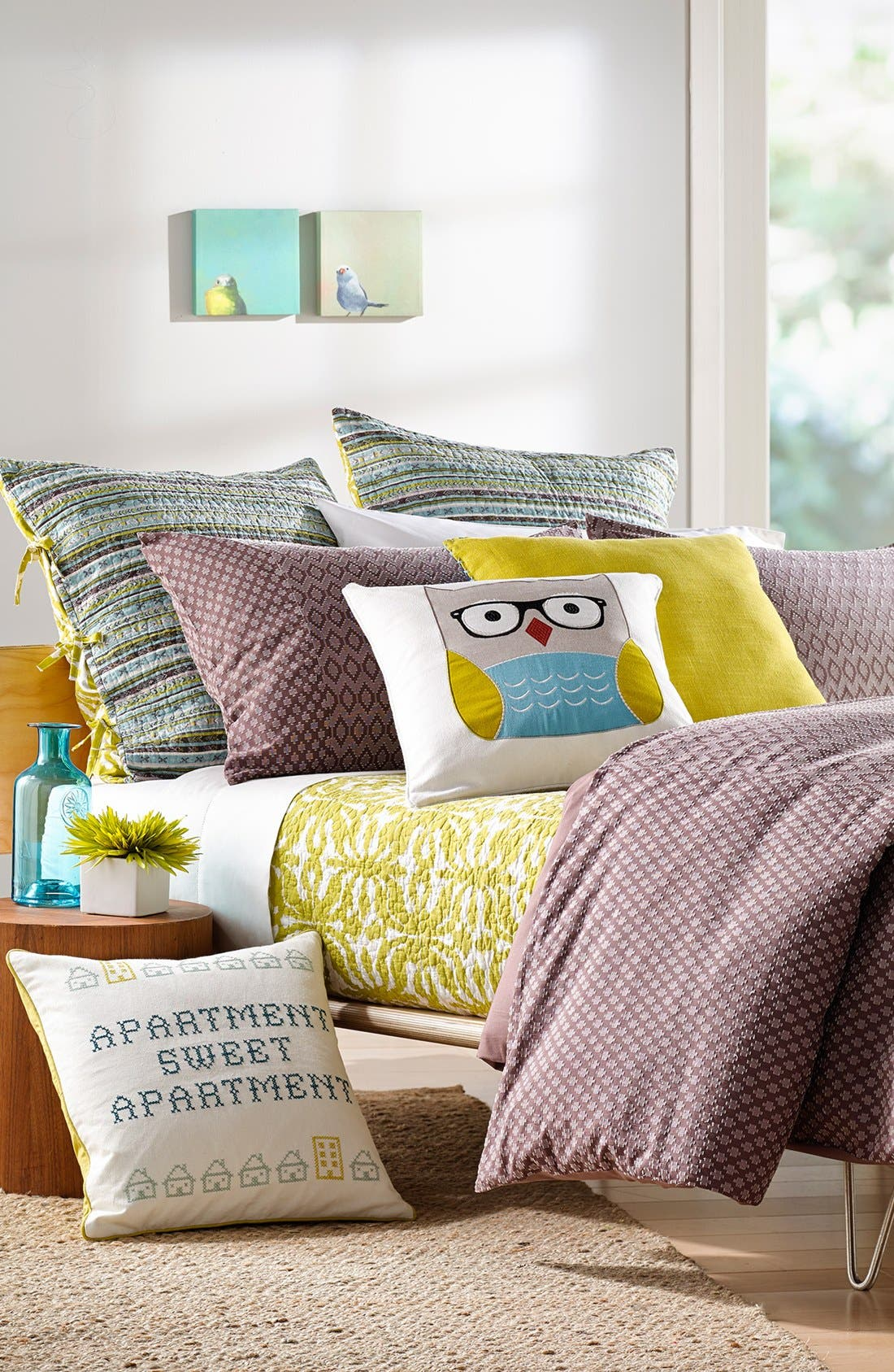 'Owl with Glasses' Accent Pillow,                             Alternate thumbnail 2, color,                             Blue/Green Multi