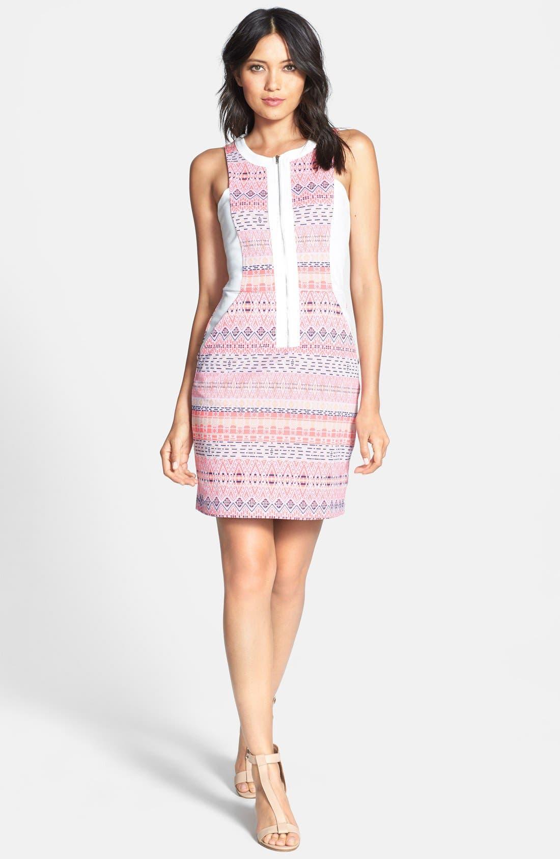 Main Image - Ella Moss 'Paz' Print Front Zip Sheath Dress
