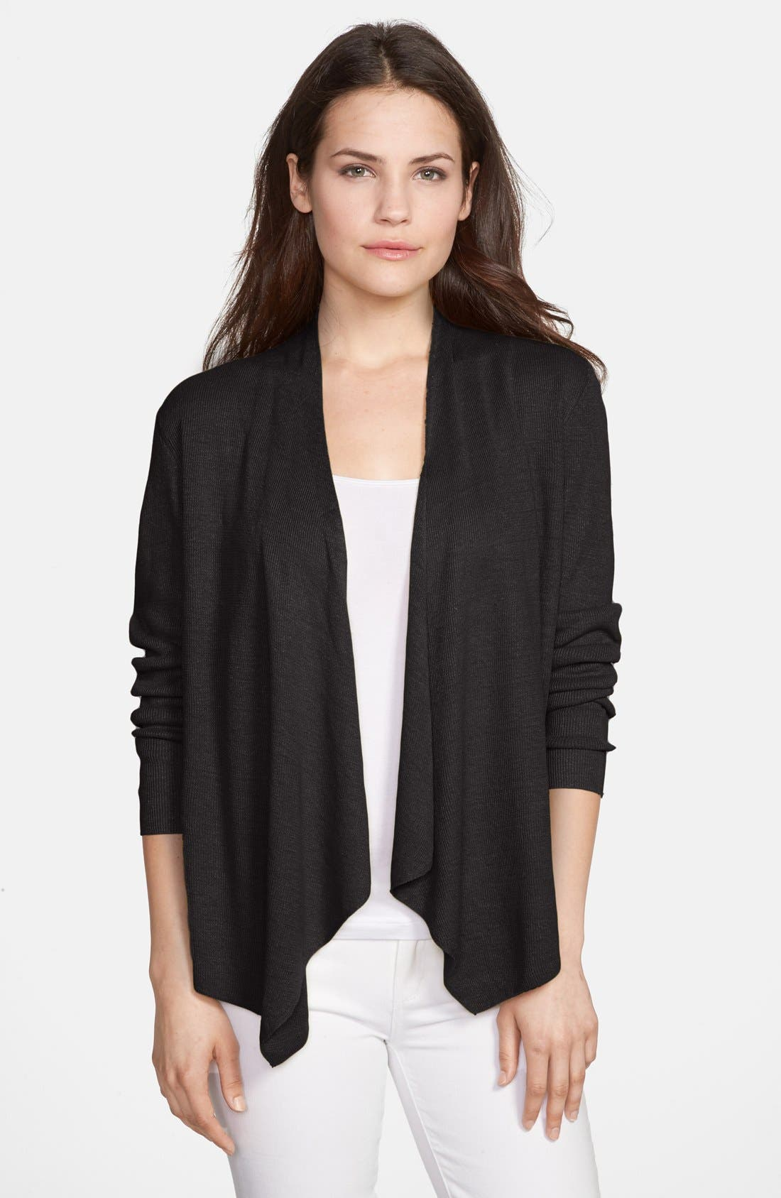 Main Image - Eileen Fisher Organic Linen Angle Front Cardigan (Regular & Petite)