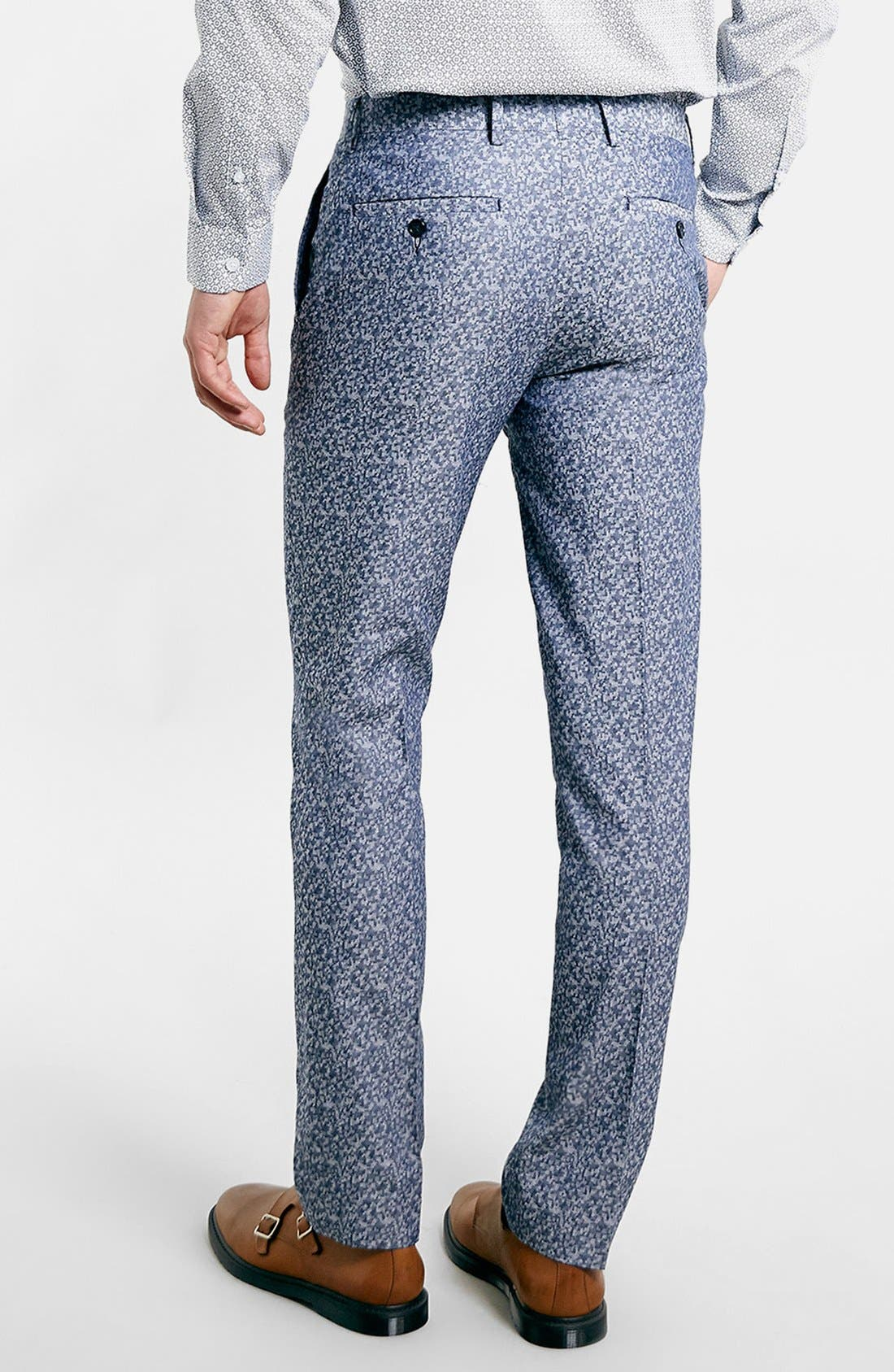 Alternate Image 2  - Topman Skinny Fit Print Suit Trousers