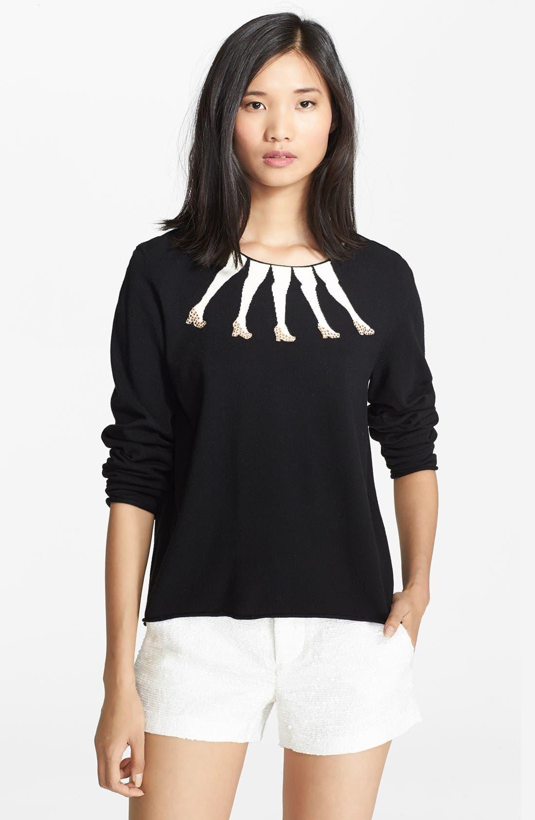 Main Image - Alice + Olivia Embellished Intarsia Knit Sweater