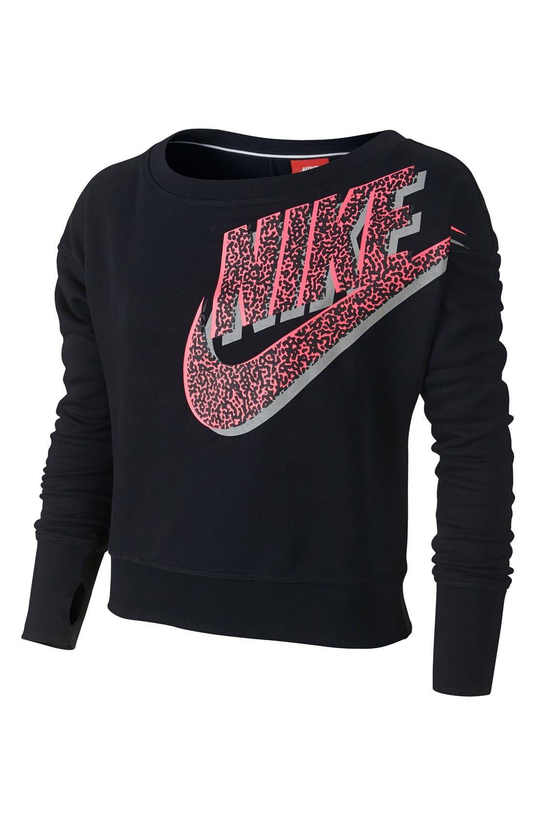 Alternate Image 1 Selected - Nike Crop Sweatshirt (Big Girls) (Online Only)