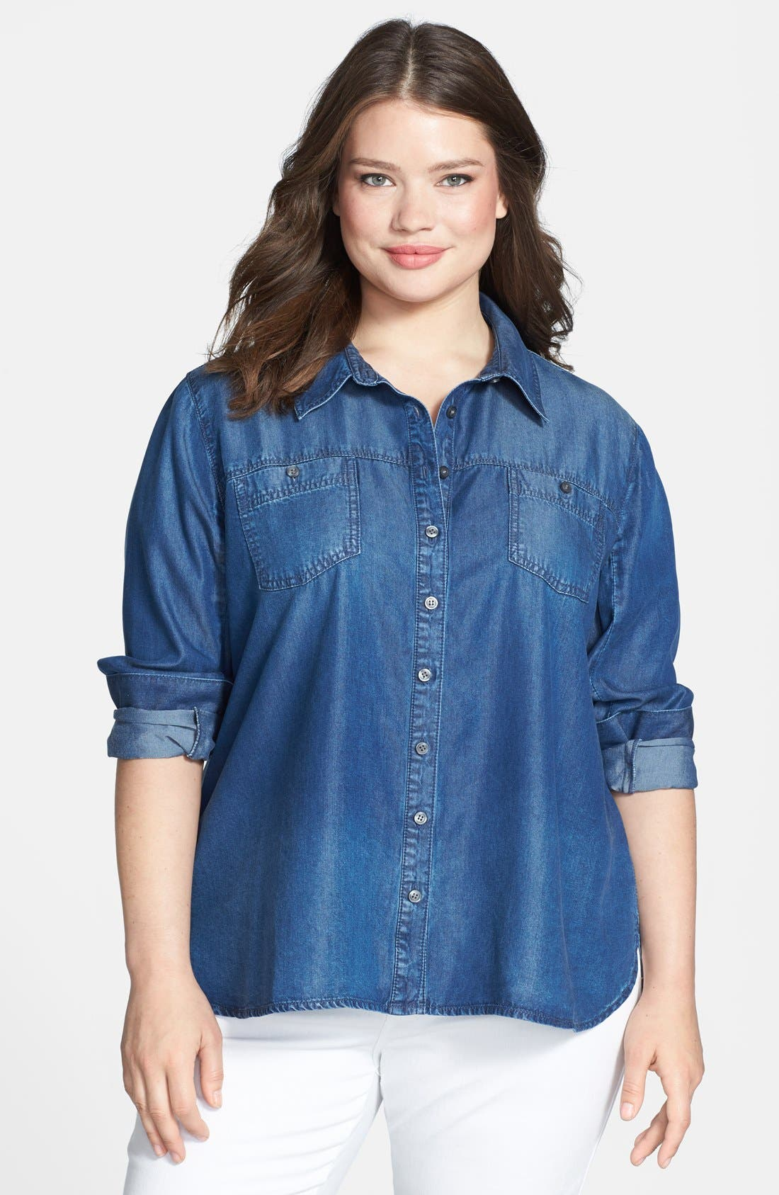 Main Image - Sejour Tencel® Chambray Shirt (Plus Size)