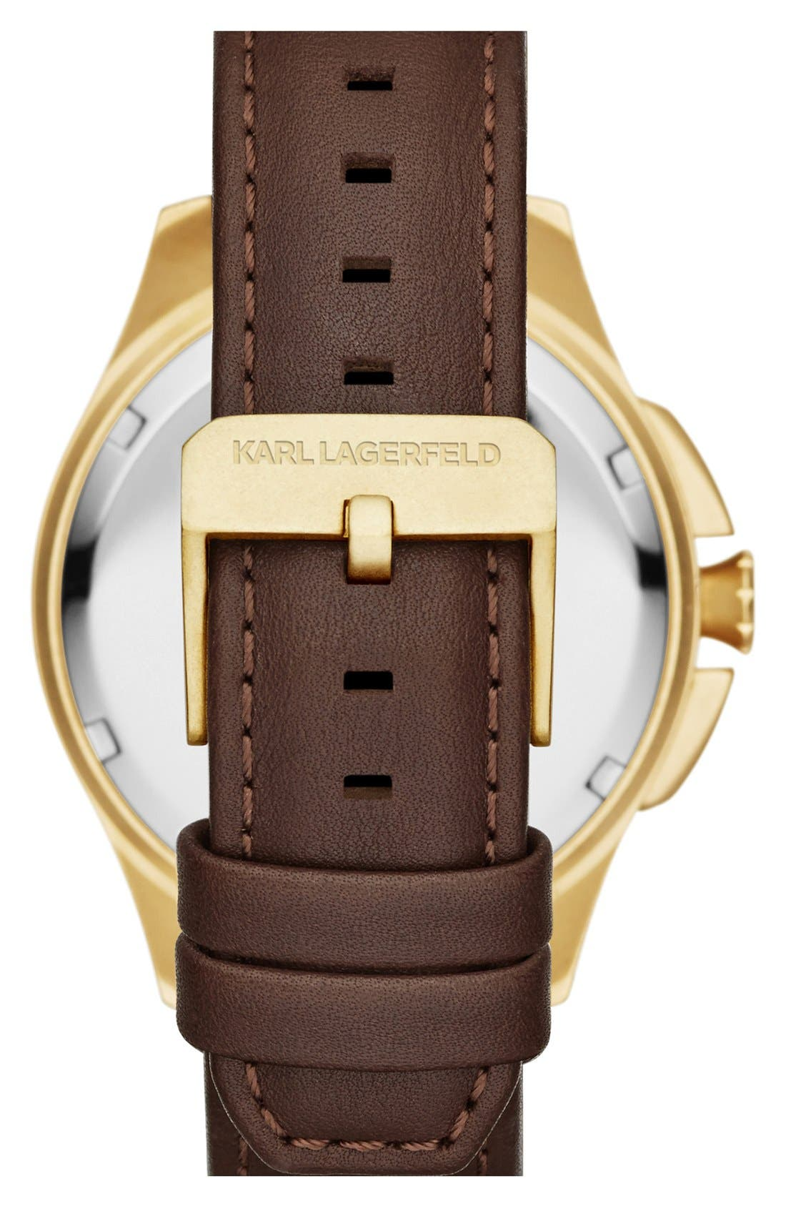 Alternate Image 2  - KARL LAGERFELD '7' Faceted Bezel Leather Strap Watch, 44mm