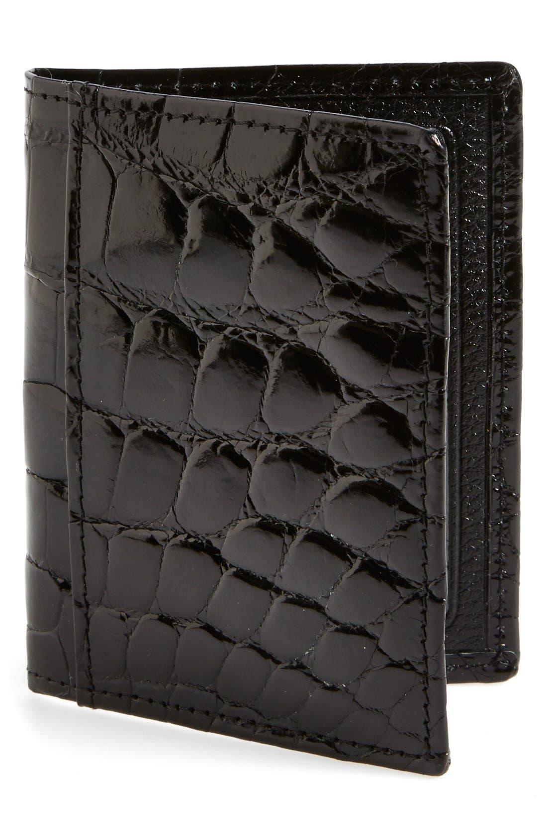 'Joseph' Genuine American Alligator Leather ID Wallet,                         Main,                         color, Black