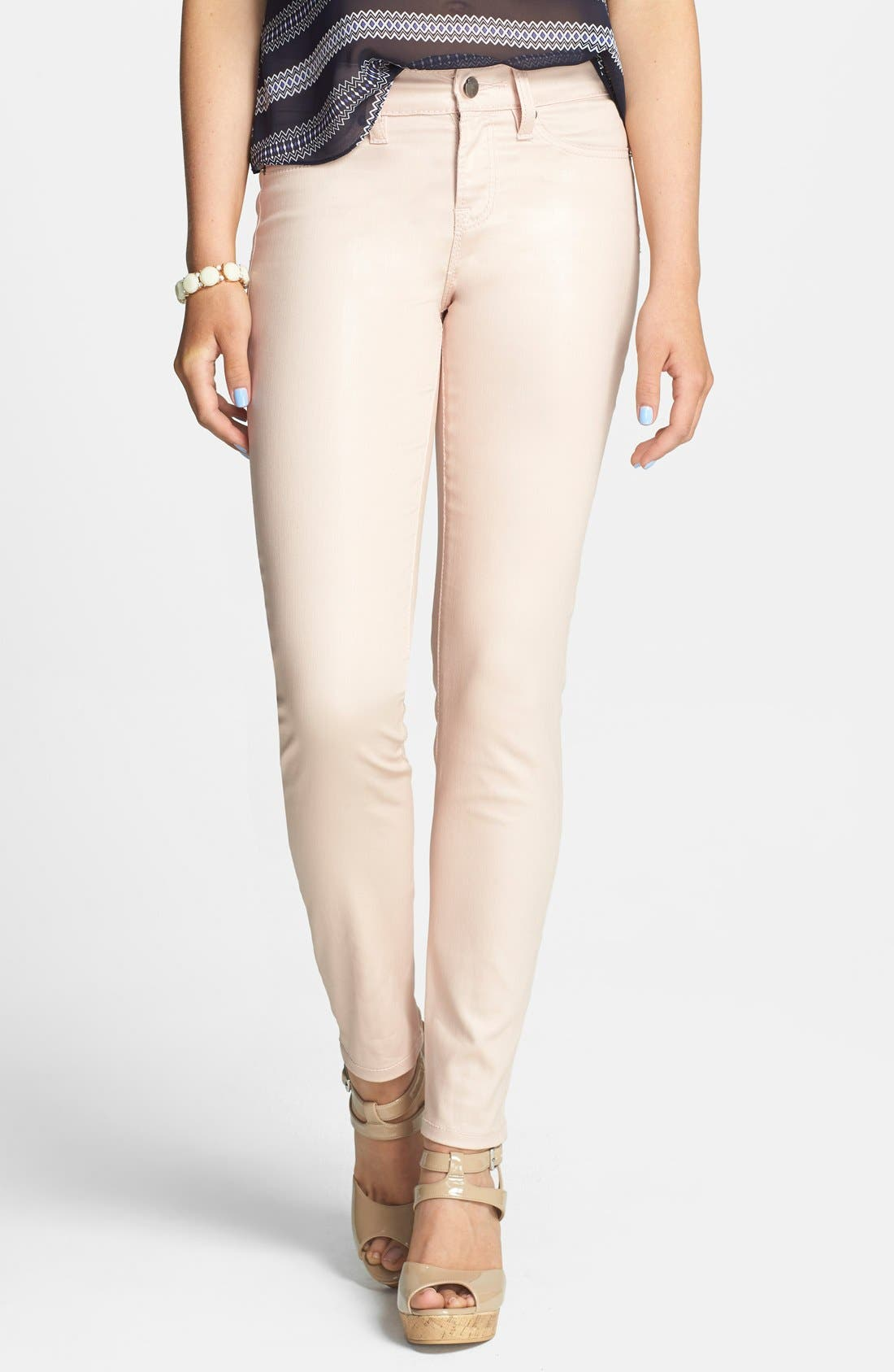 Main Image - Standards & Practices Zip Cuff Coated Skinny Jeans (Coated Rose)