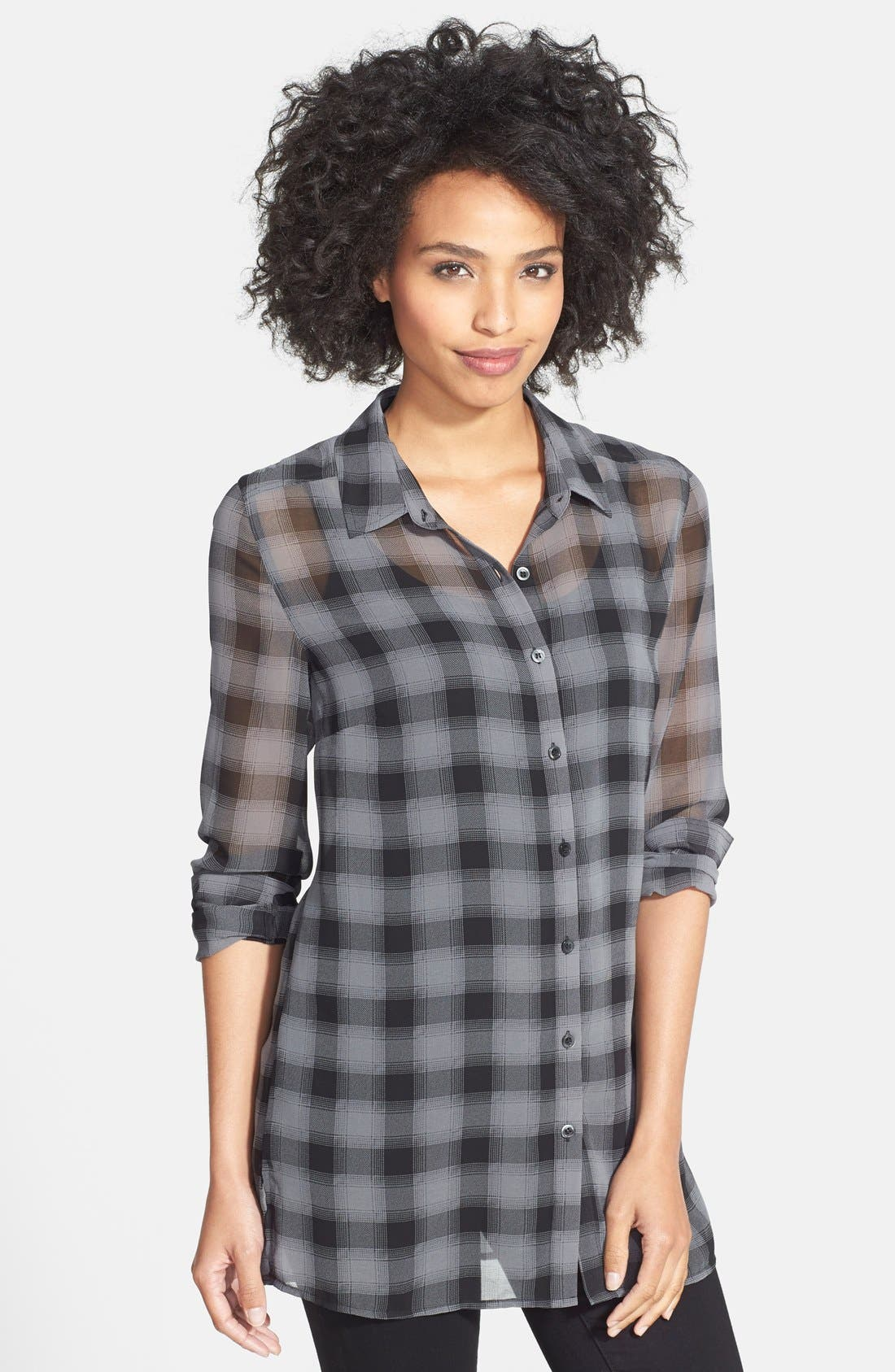 Main Image - Halogen® Plaid Tunic Shirt (Regular & Petite)