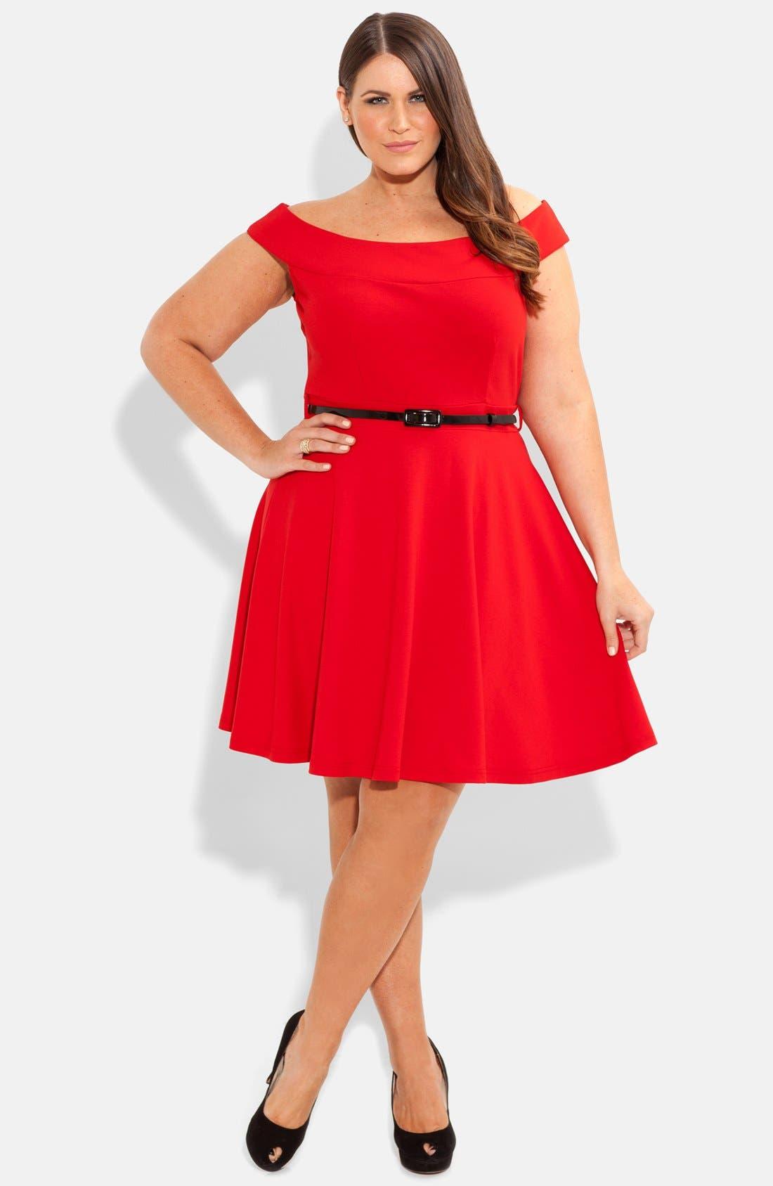 Main Image - City Chic 'Bridgette' Belted Skater Dress (Plus Size)