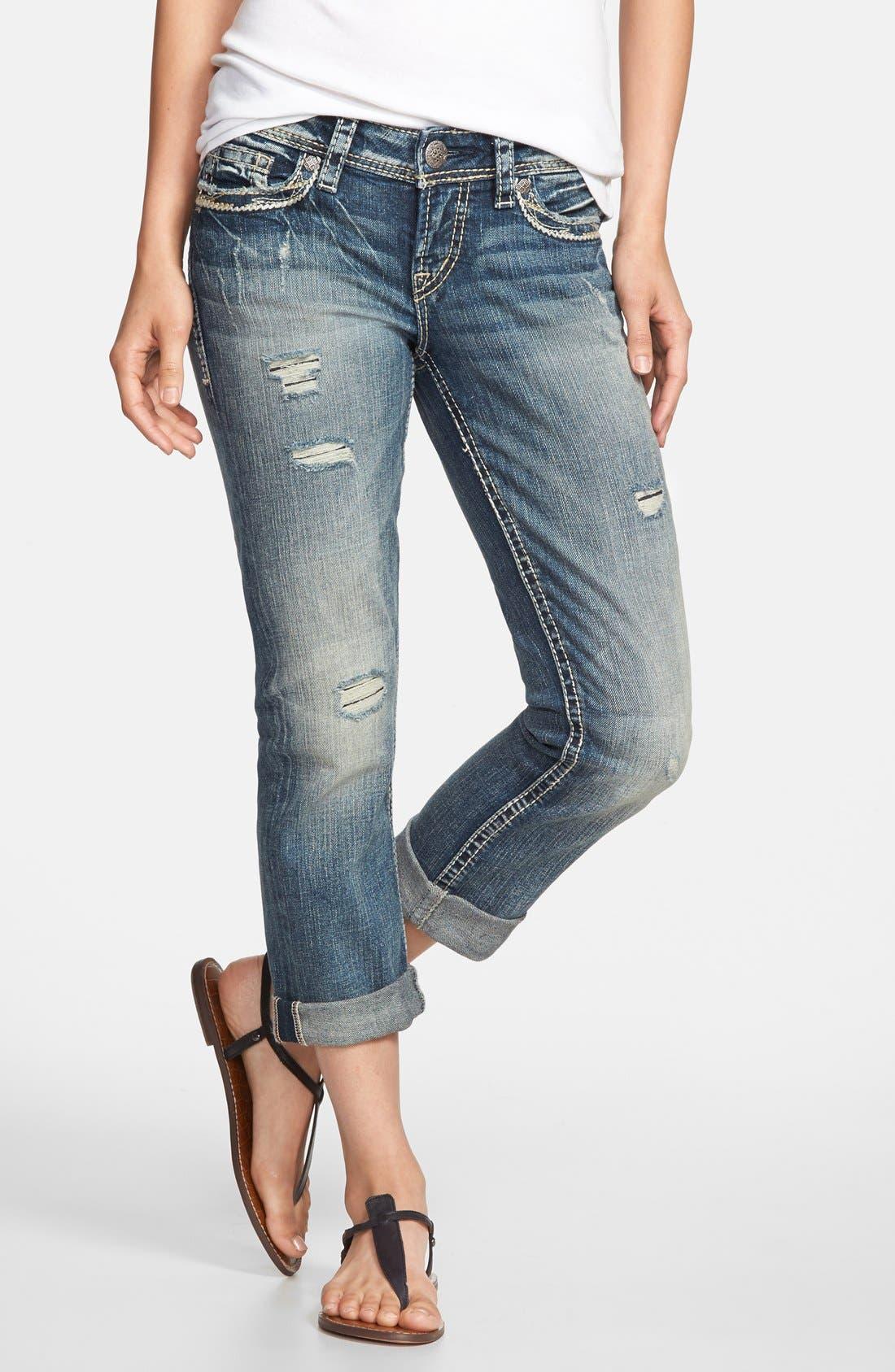 Silver Jeans Co. 'Suki' Curvy Fit Distressed Cuffed Capri Jeans ...