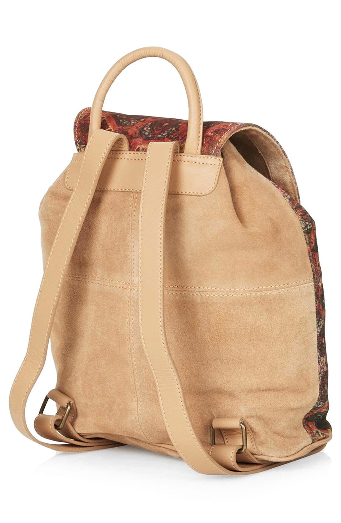 Alternate Image 4  - Topshop Print Suede Backpack