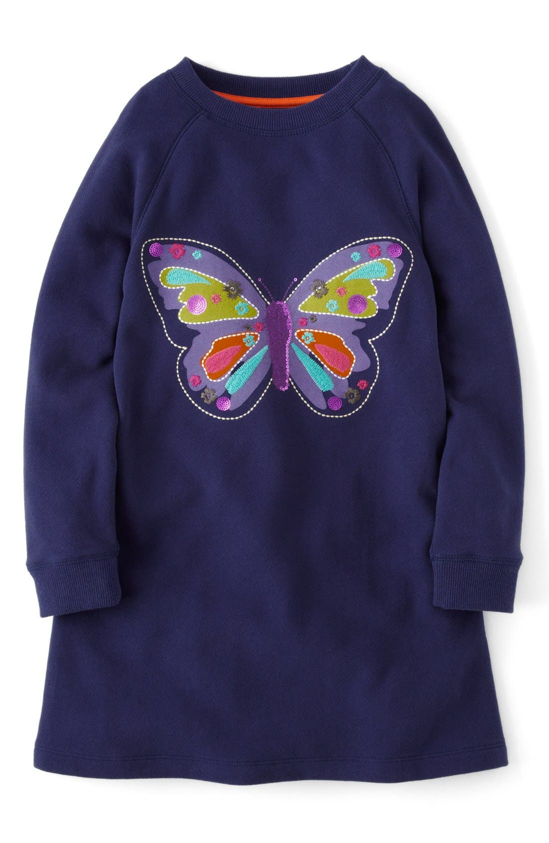 Embellished Sweatshirt Dress,                             Main thumbnail 1, color,                             Navy Butterfly