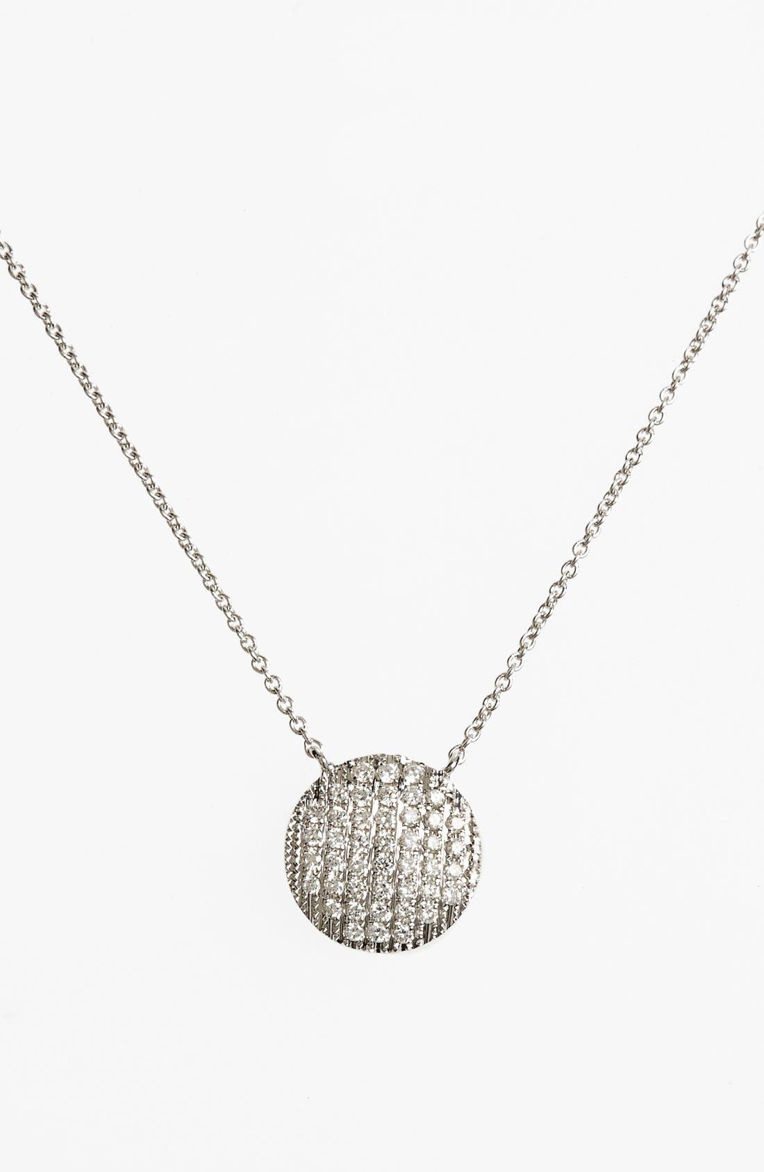 'Lauren Joy' Diamond Disc Pendant Necklace,                         Main,                         color, White Gold