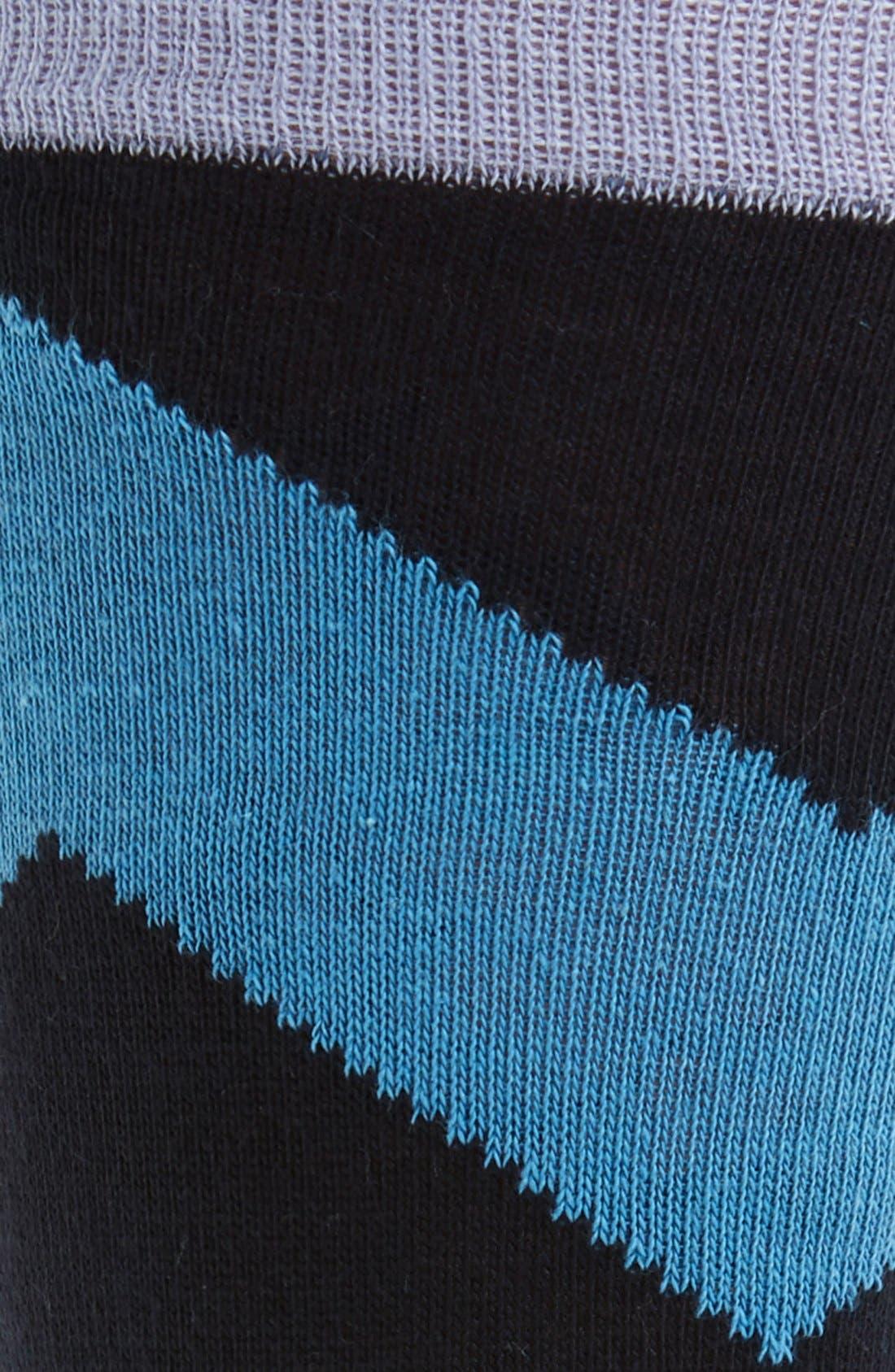 Chevron Stripe Socks,                             Alternate thumbnail 2, color,                             Blue/ Lavender