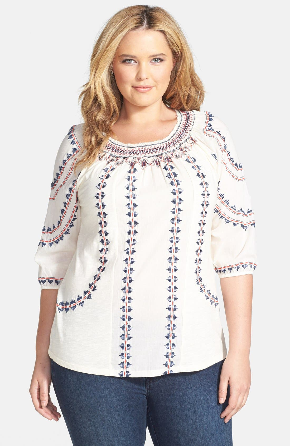 Alternate Image 1 Selected - Lucky Brand Embroidered Stripe Jersey Tee (Plus Size)