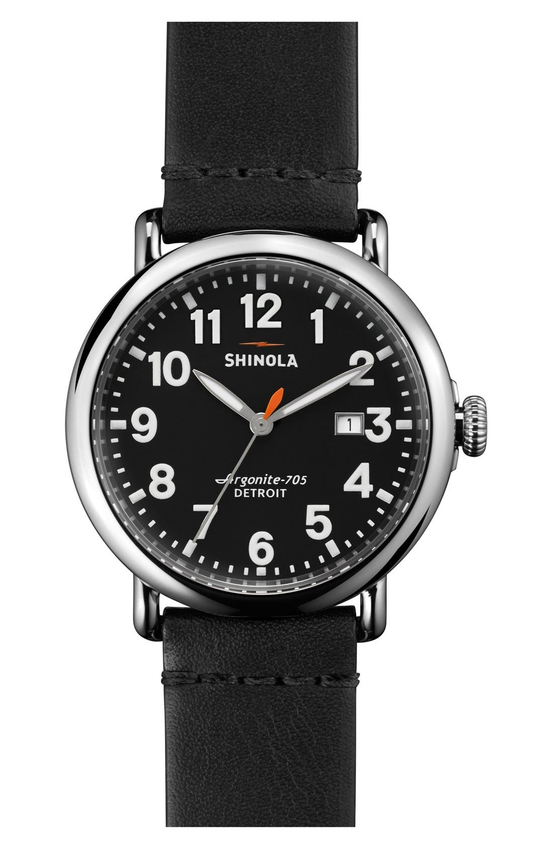 'The Runwell' Round Leather Strap Watch, 41mm,                         Main,                         color, Black