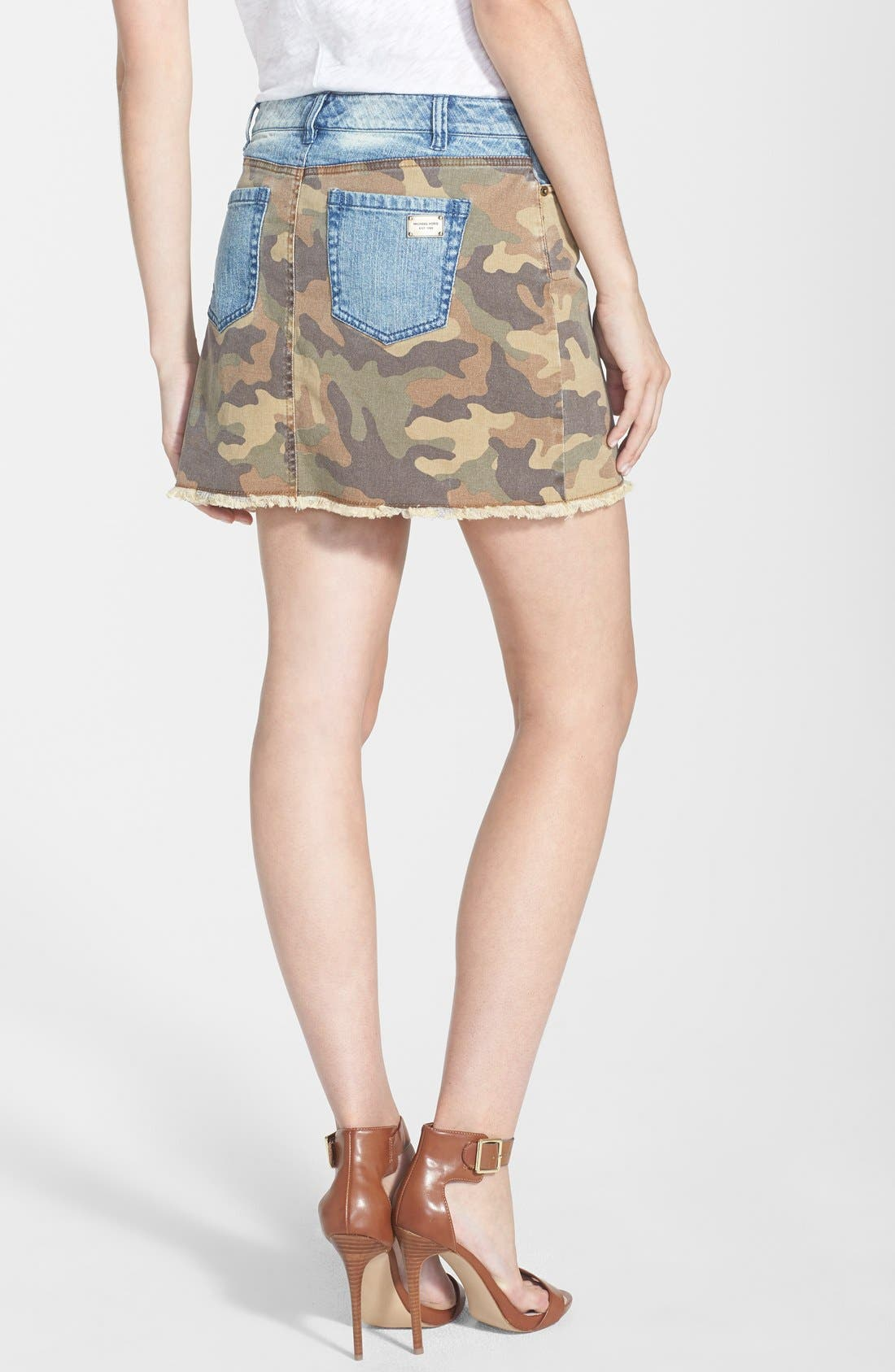 Alternate Image 2  - MICHAEL Michael Kors Camo & Denim Miniskirt
