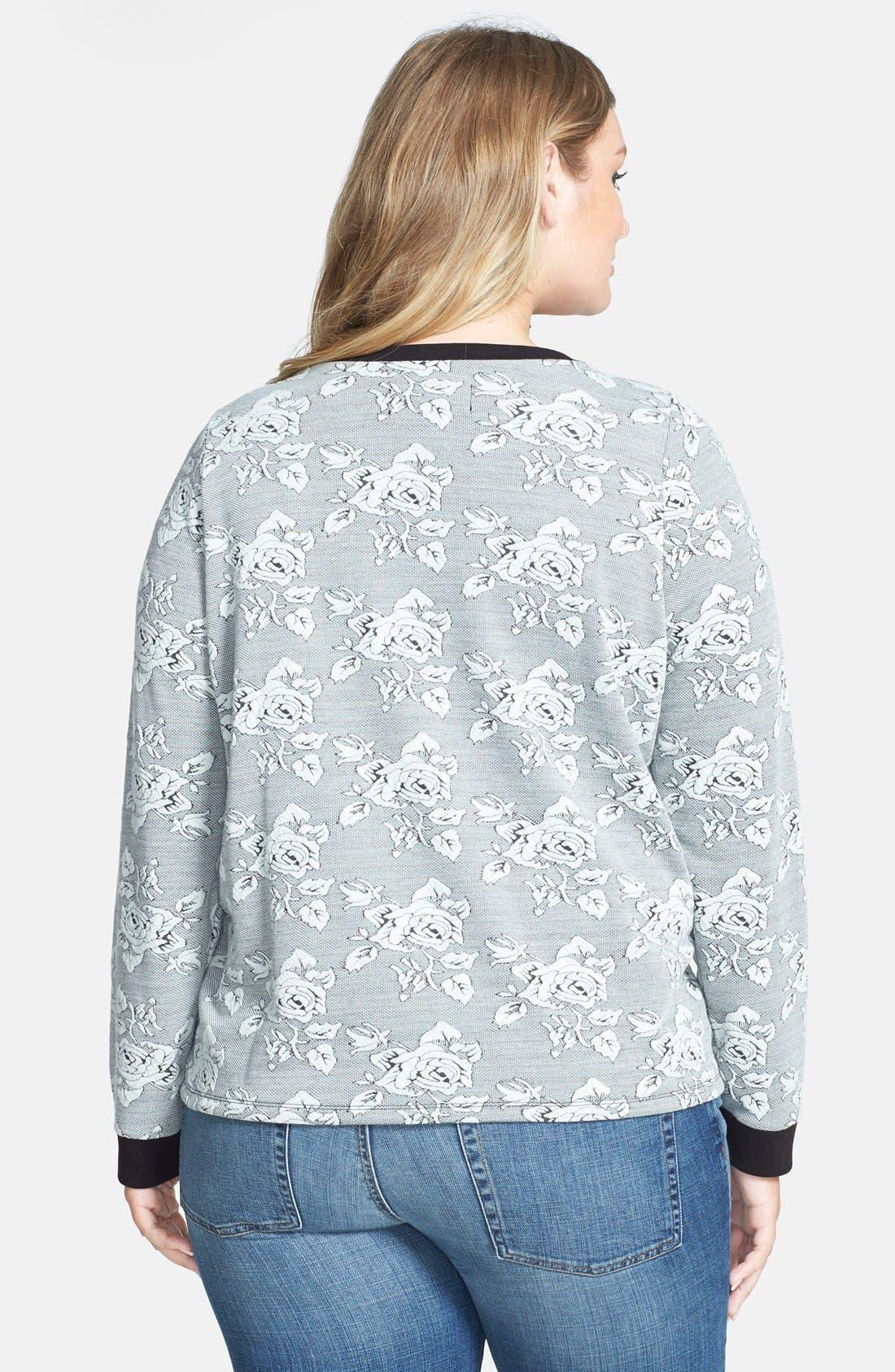 Alternate Image 2  - BB Dakota 'Davi Rose' Jacquard Sweatshirt (Plus Size)