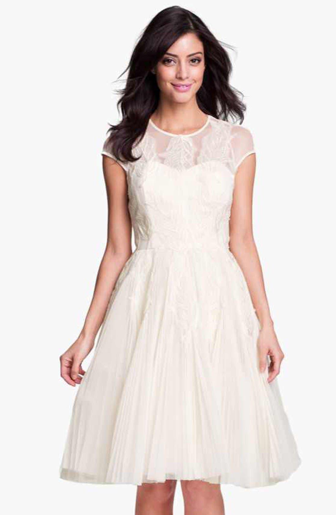 'Miyaa' Embroidered Mesh Fit & Flare Dress,                             Main thumbnail 1, color,                             Cream
