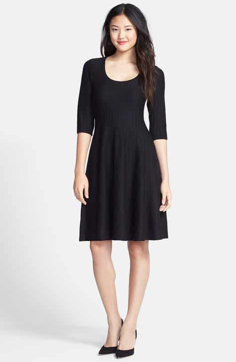 NIC+ZOE  Twirl  Elbow Sleeve Knit Fit   Flare Dress (Regular   Petite) 3141f8ede