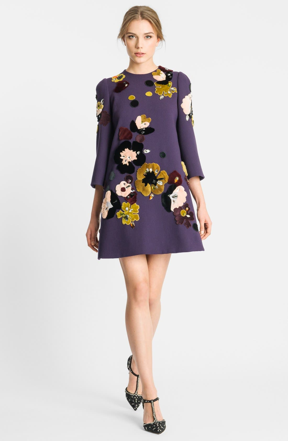 Alternate Image 3  - Dolce&Gabbana Genuine Rabbit Fur Embroidered Crepe Dress