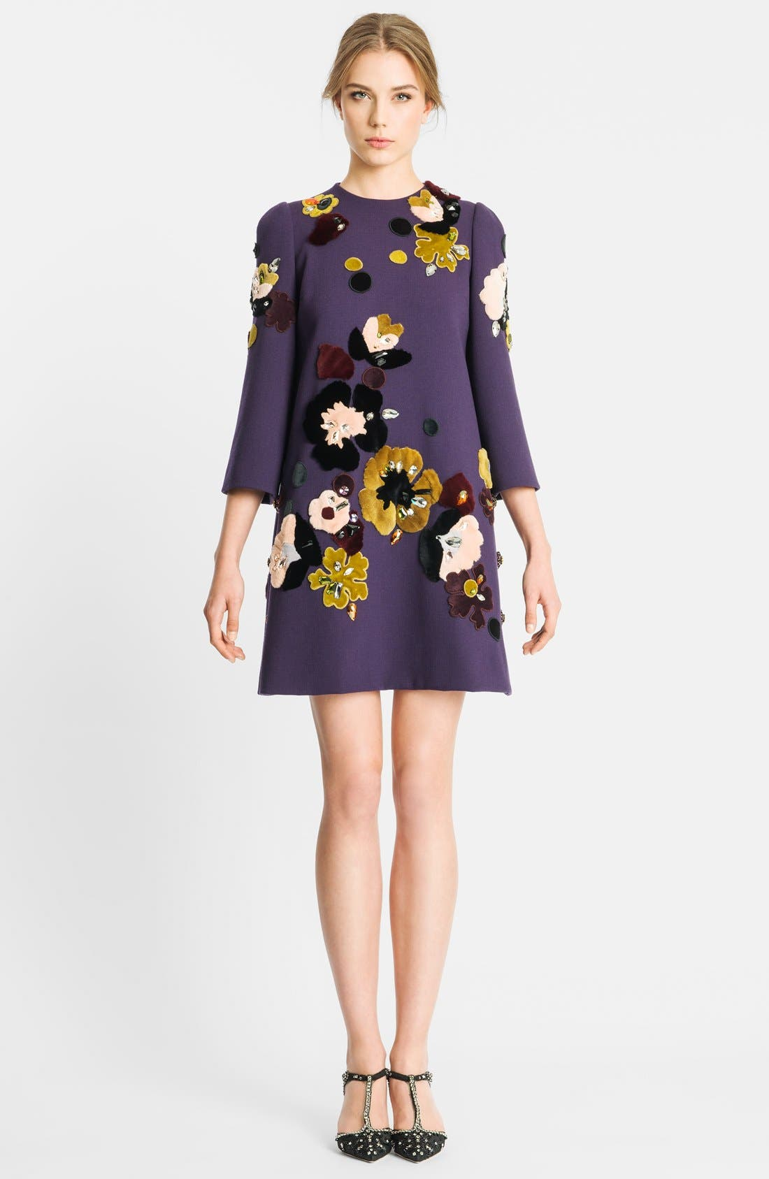 Main Image - Dolce&Gabbana Genuine Rabbit Fur Embroidered Crepe Dress