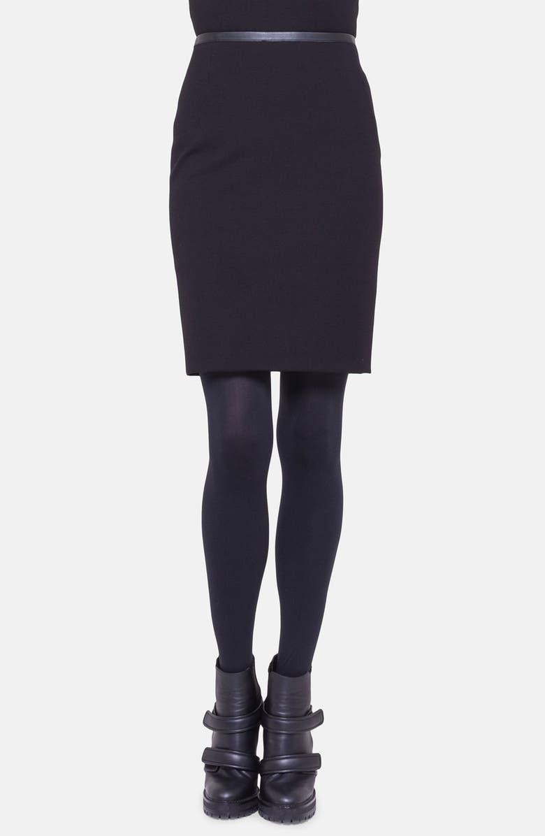 Leather Trim Jersey Skirt