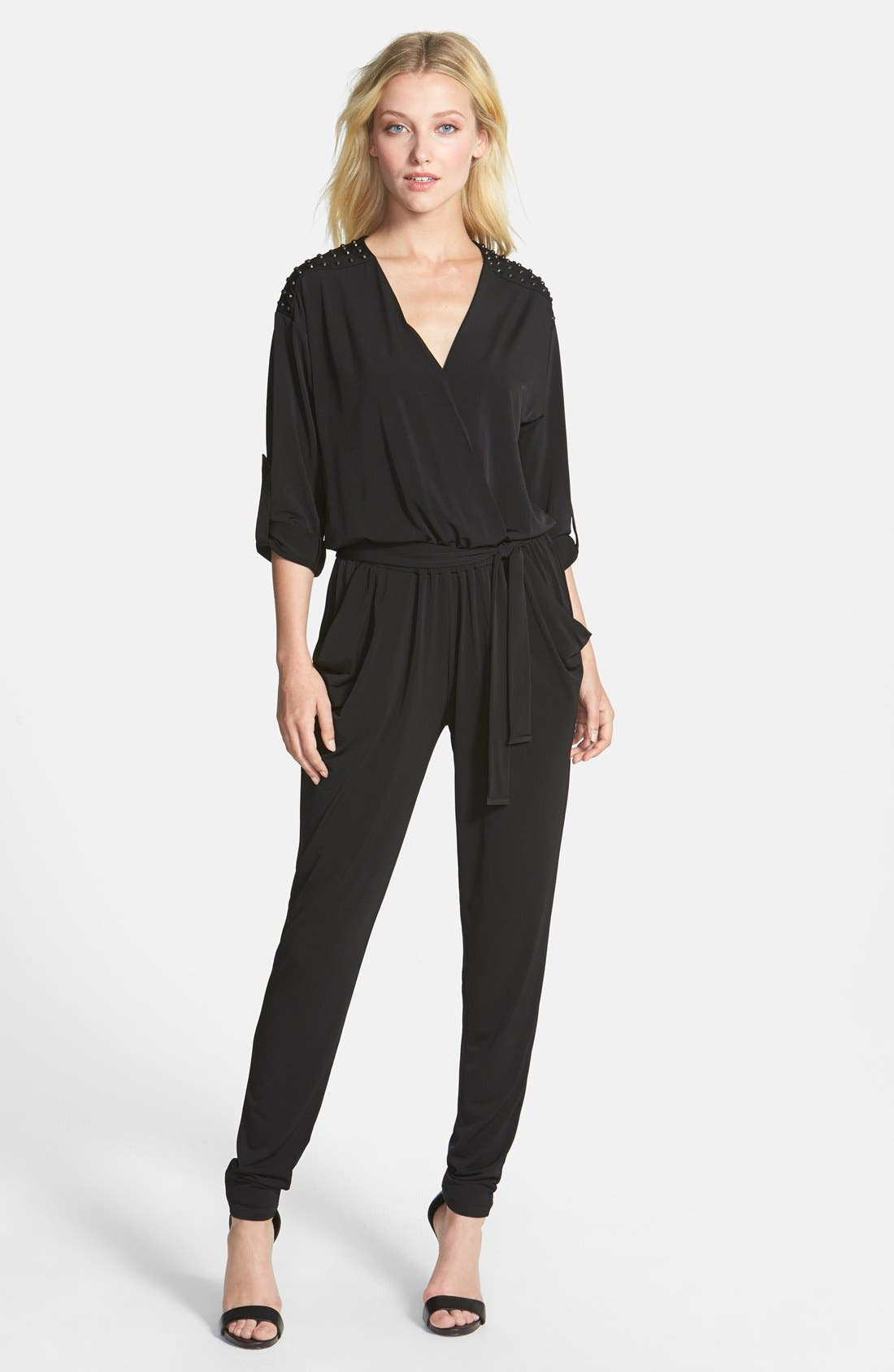 Alternate Image 1 Selected - MICHAEL Michael Kors Studded Roll Sleeve Jumpsuit