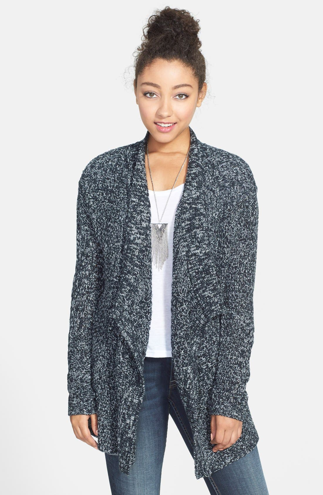 Main Image - BP. Patchwork Blanket Cardigan (Juniors)