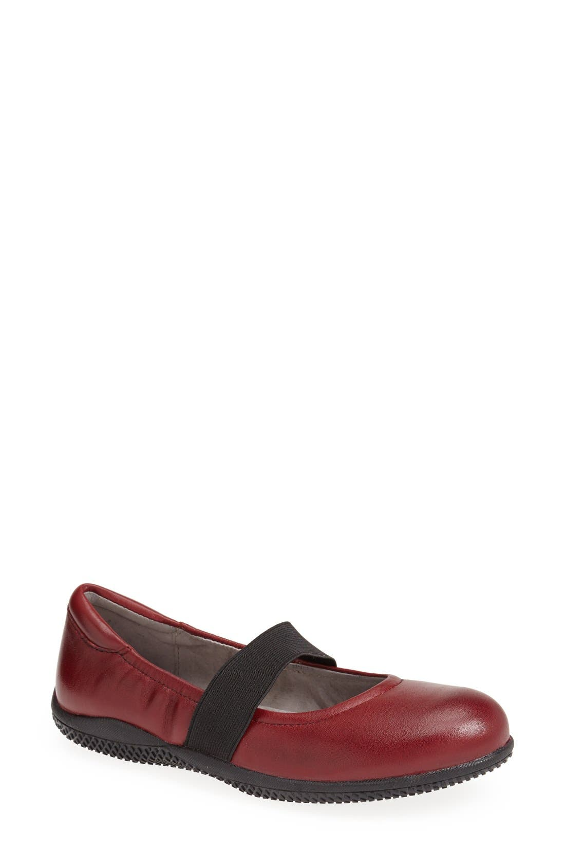 'High Point' Mary Jane Flat,                             Main thumbnail 1, color,                             Dark Red