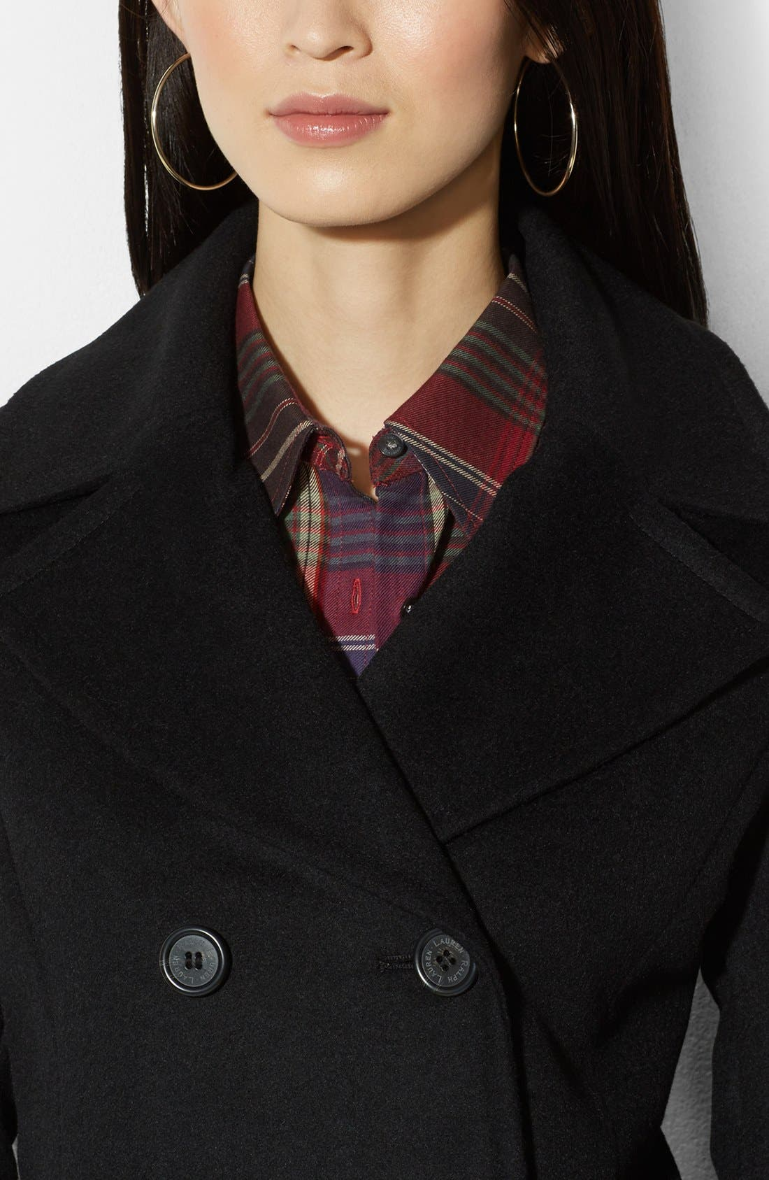 Alternate Image 3  - Lauren Ralph Lauren Double Breasted Wool Blend Peacoat (Online Only)