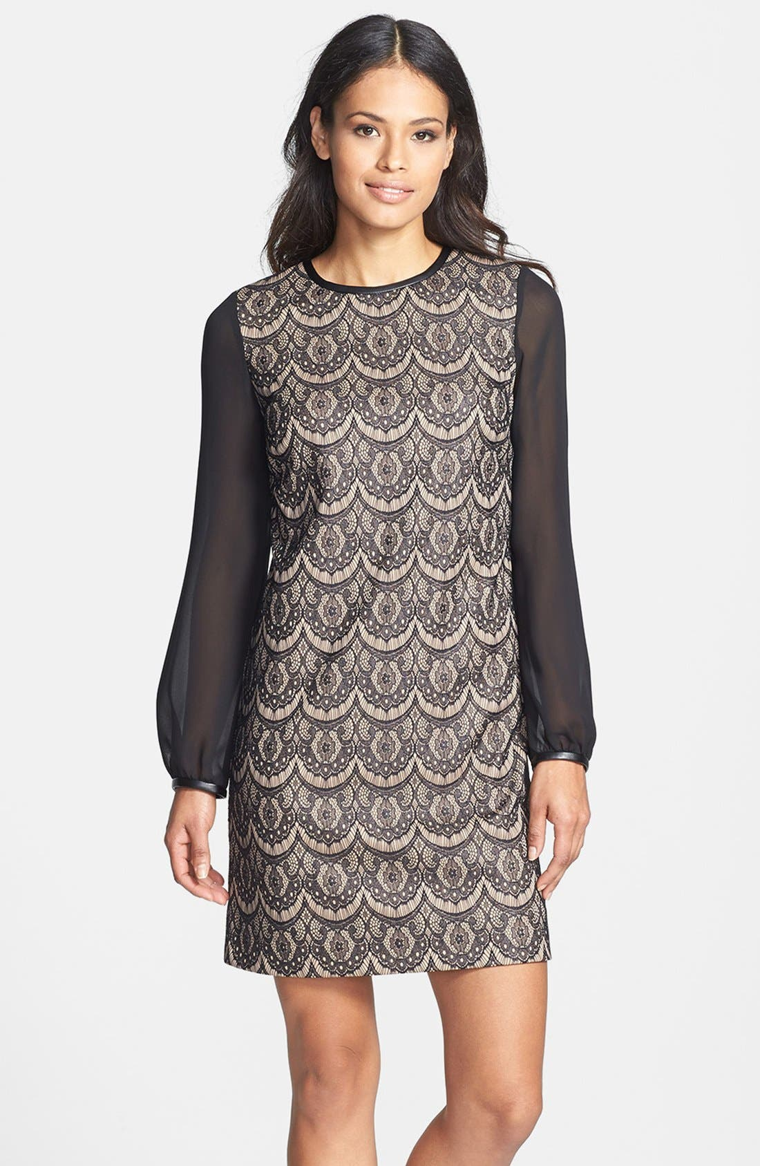 Main Image - Donna Ricco Blouson Sleeve Lace Shift Dress (Regular & Petite)