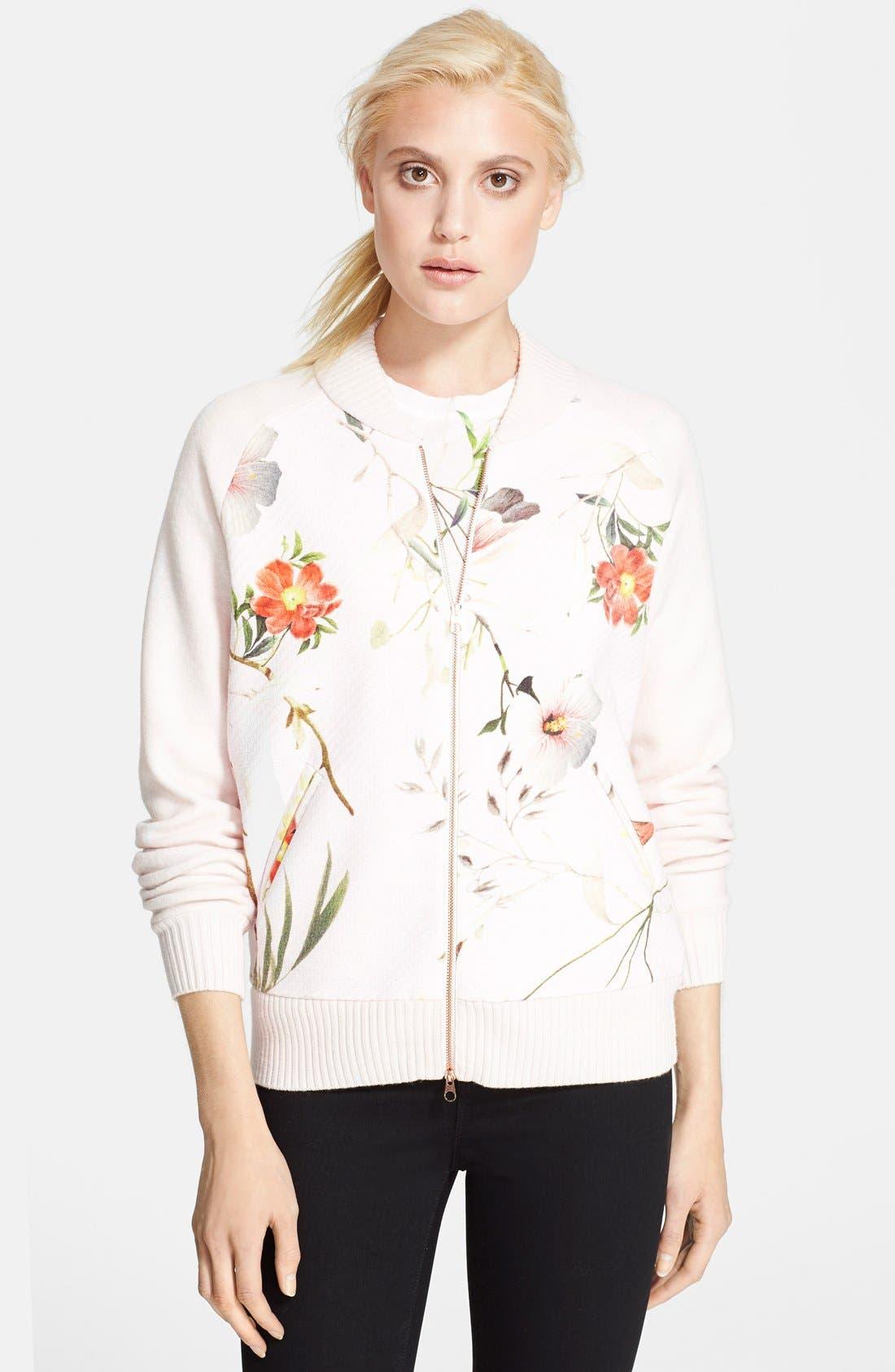 Main Image - Ted Baker London 'Caithi' Floral Print Bomber Jacket