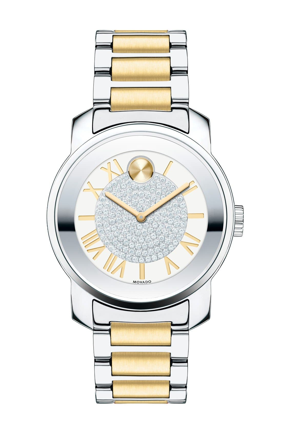 'Bold' Crystal Dial Bracelet Watch, 32mm,                             Main thumbnail 1, color,                             Silver/ Gold