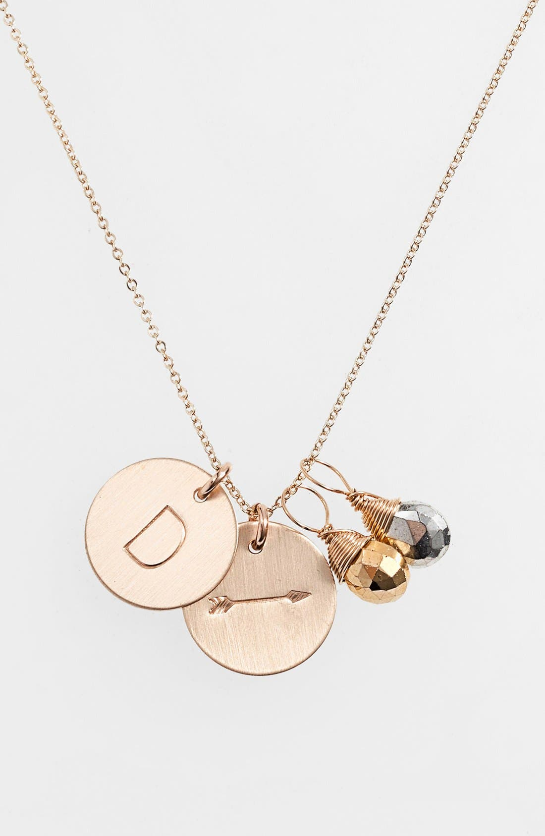 Pyrite Initial & Arrow 14k-Gold Fill Disc Necklace,                             Main thumbnail 1, color,                             Gold Pyrite/ Silver Pyrite D