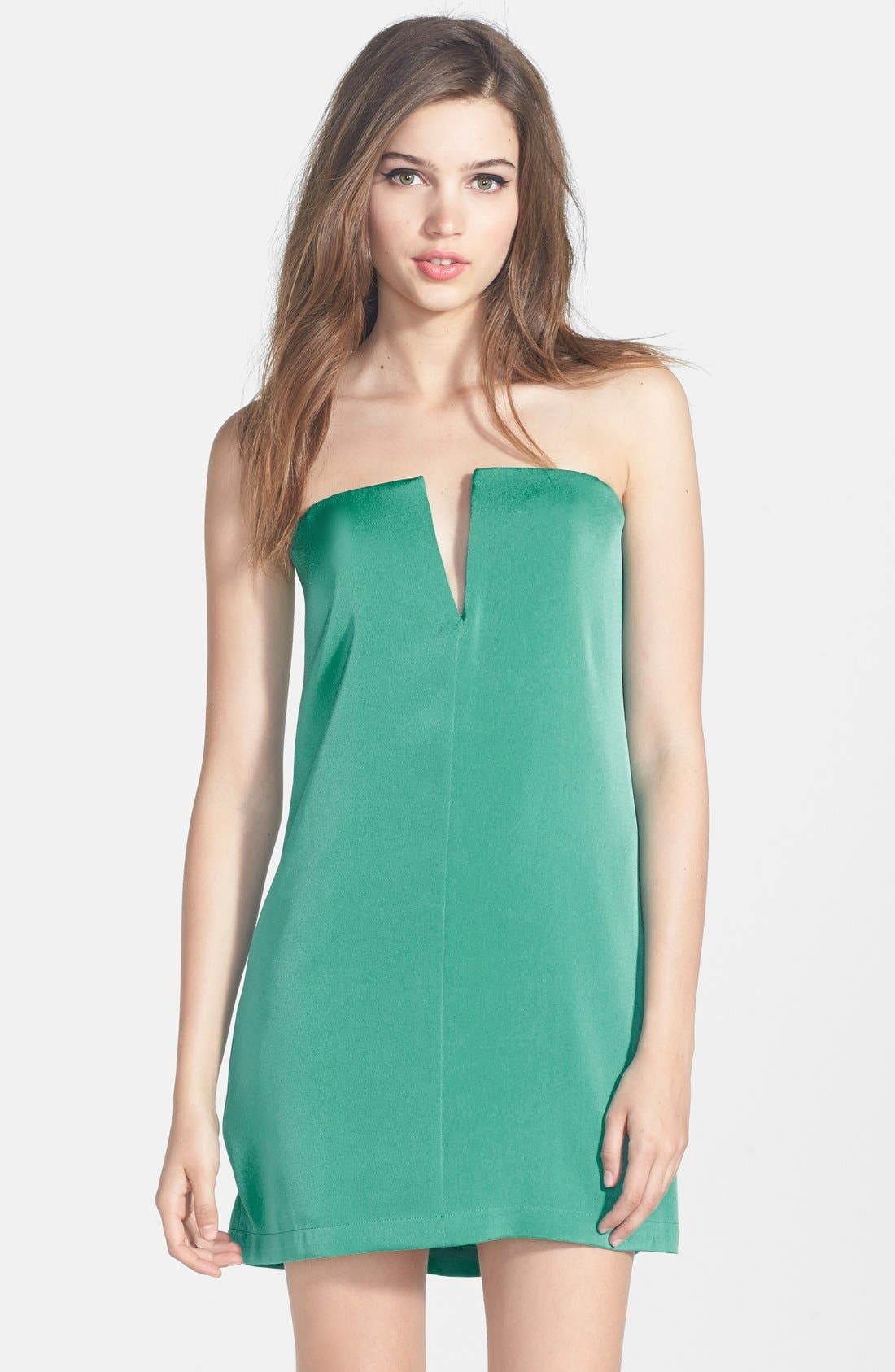 Alternate Image 1 Selected - BCBGMAXAZRIA 'Nahara' Strapless Crêpe de Chine Dress