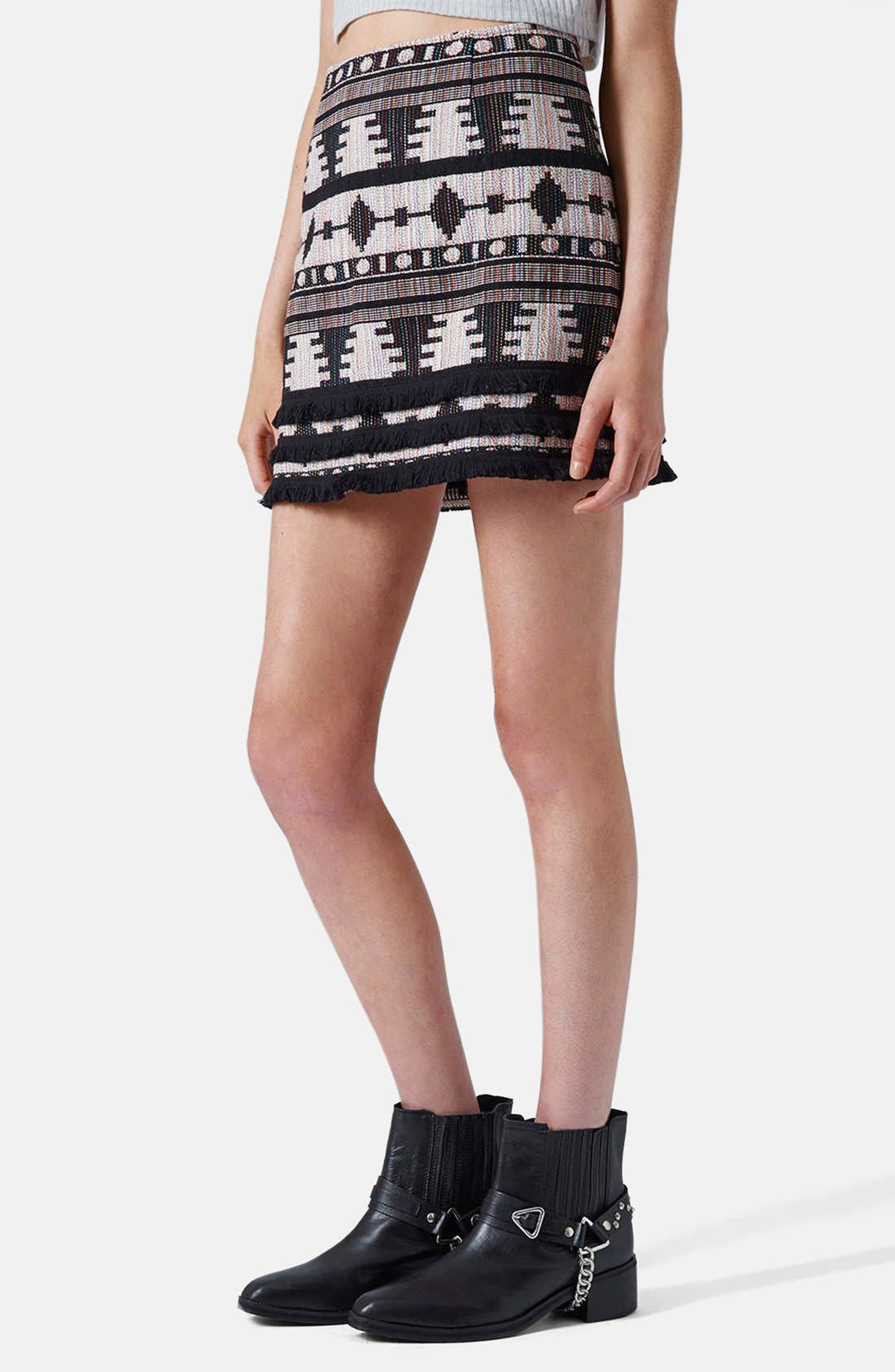 Alternate Image 1 Selected - Topshop Fringe Hem Pelmet Skirt