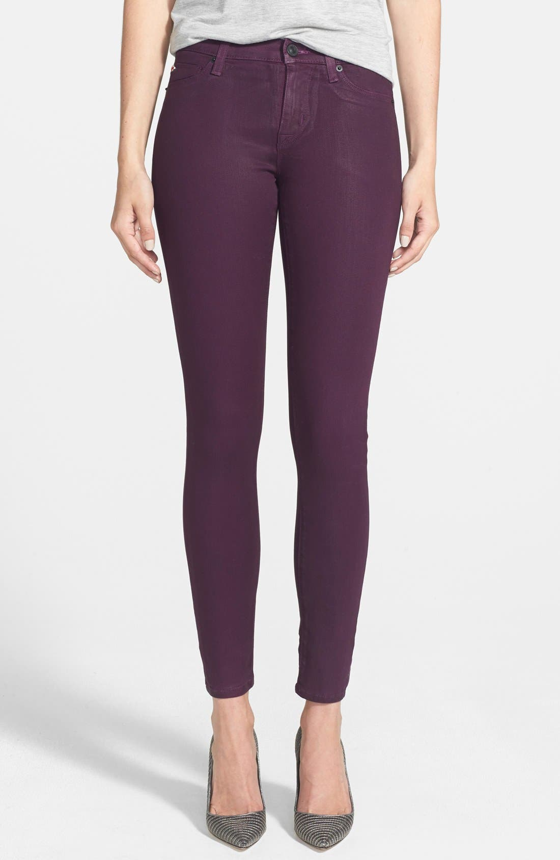 Alternate Image 1 Selected - Hudson Jeans 'Nico' Mid Rise Skinny Stretch Jeans (Mulberry Wax)